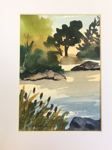 Bullrushes, Rocks and the Trout are Biting 7 x 5 watercolour (matted 10 x 8)