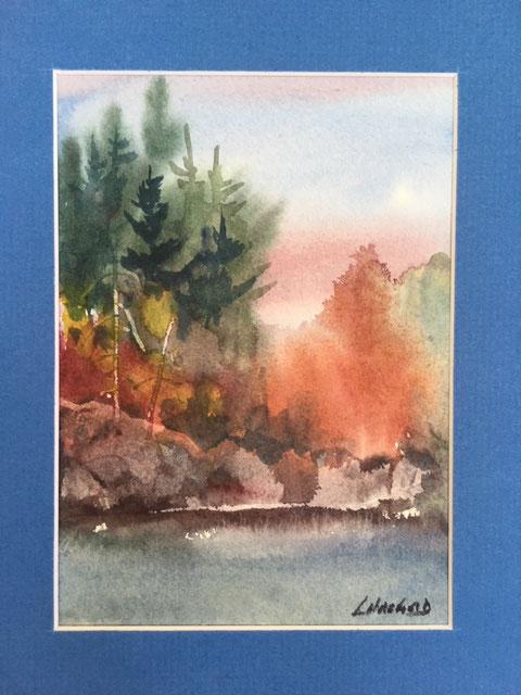 Uncle Stuart's Best Fishing Hole on Lake Manitou 7 x 5 watercolour (matted 10 x 8)