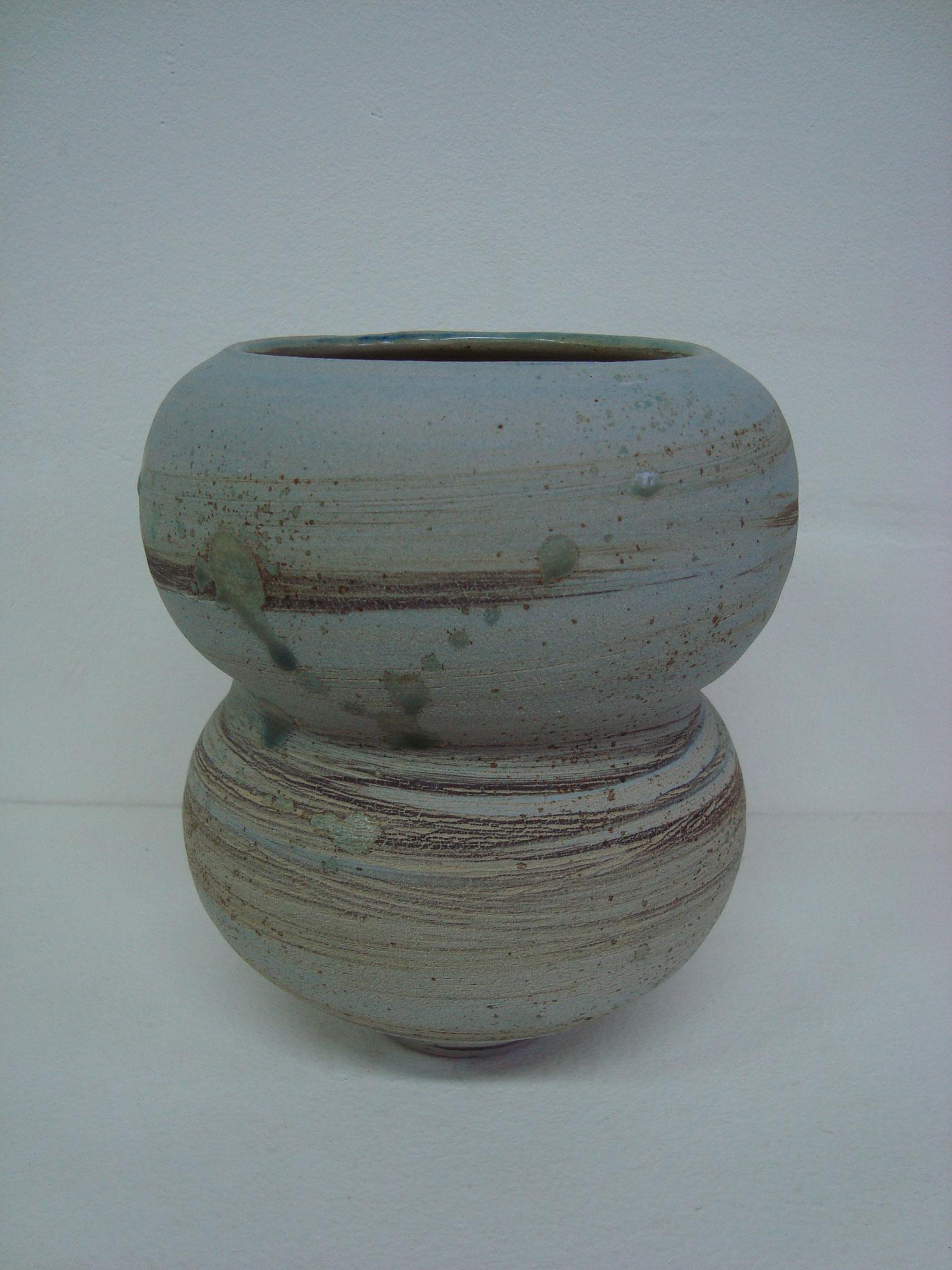 vase grès engobé, cuisson 1280° en four électrique