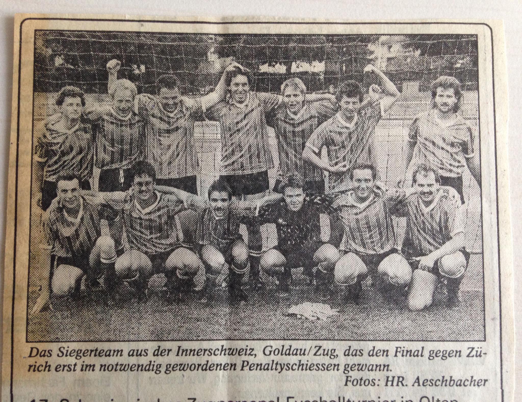 17. Schweizerisches Zugpersonalfussballturnier 1. Rang im Jahr 1990 in Olten