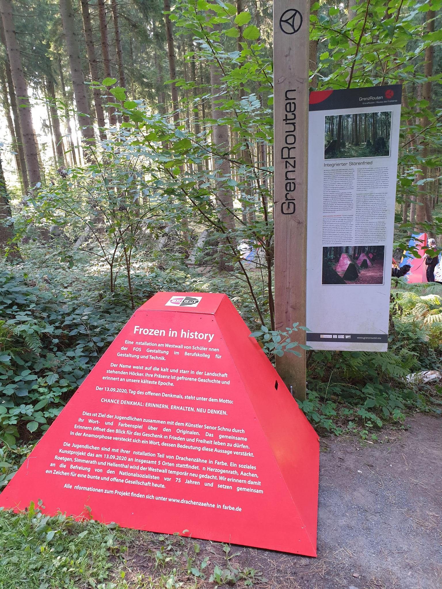 Kunstprojekt Drachenzähne in Farbe am Rotsiefweg bei Köpfchen