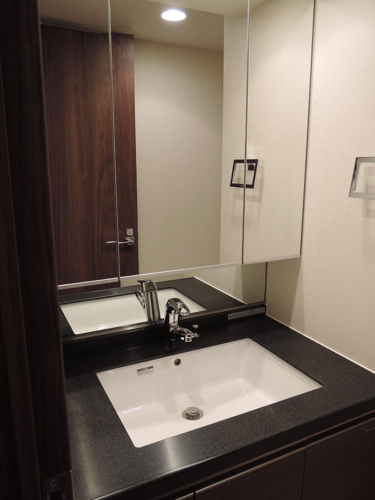 三面鏡付きの洗面台。マルチシングルレバー水栓。吐水口が引き出せます。