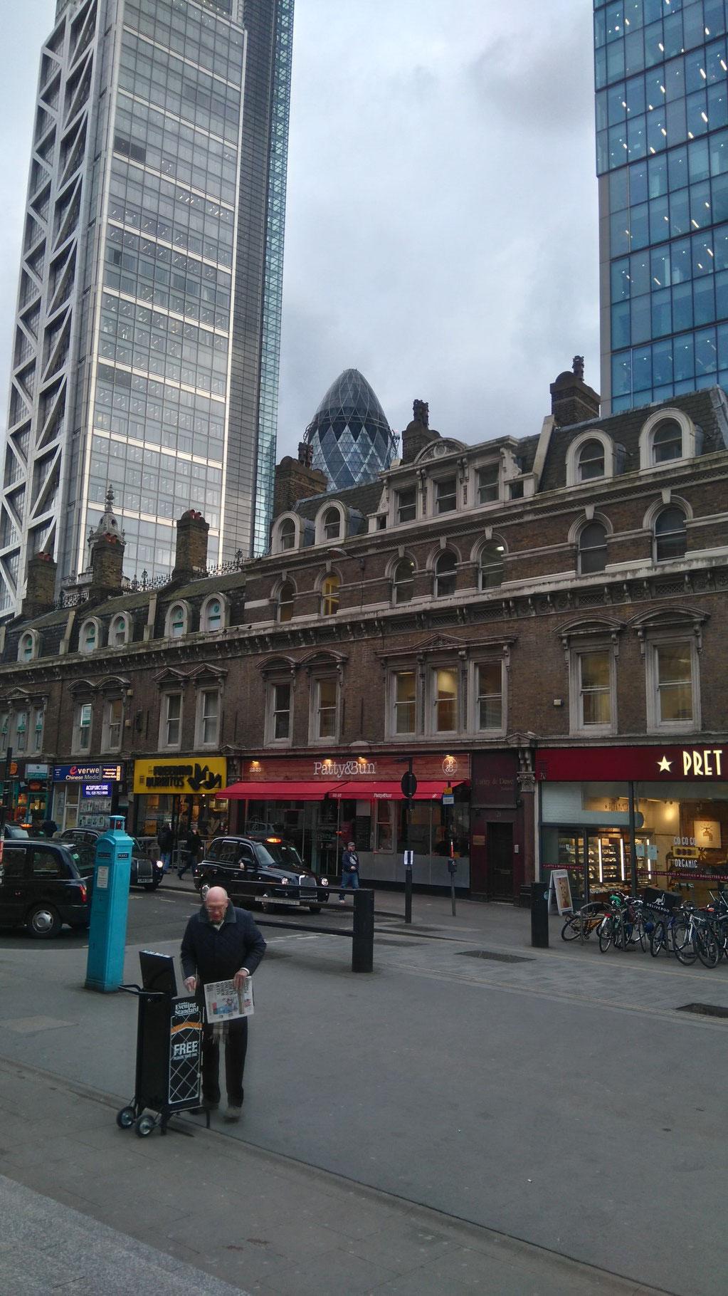 リバプールストリート駅からシティー方面の景色