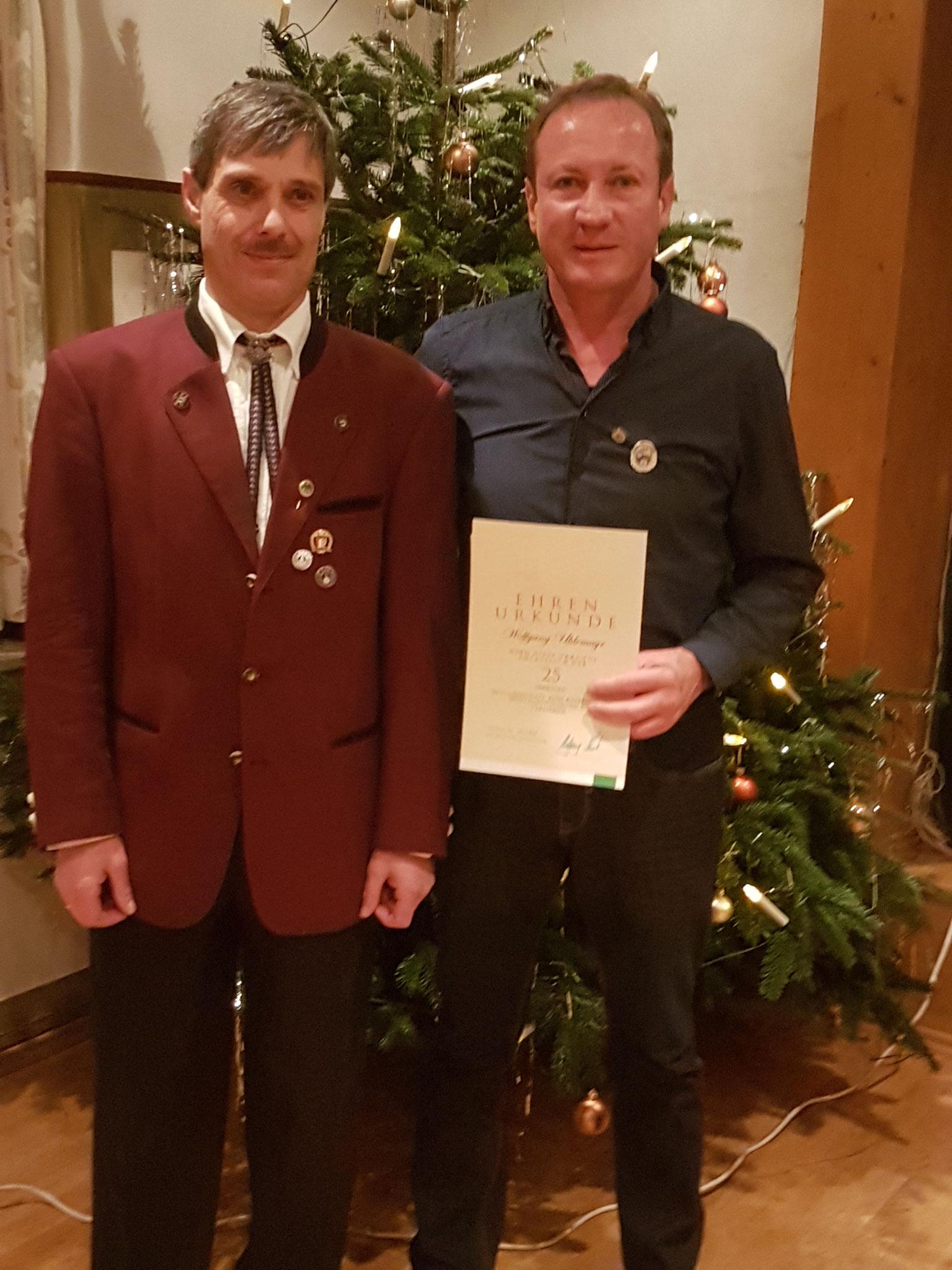 Uhlemayr Wolfgang 25 Jahre Mitgliedschaft