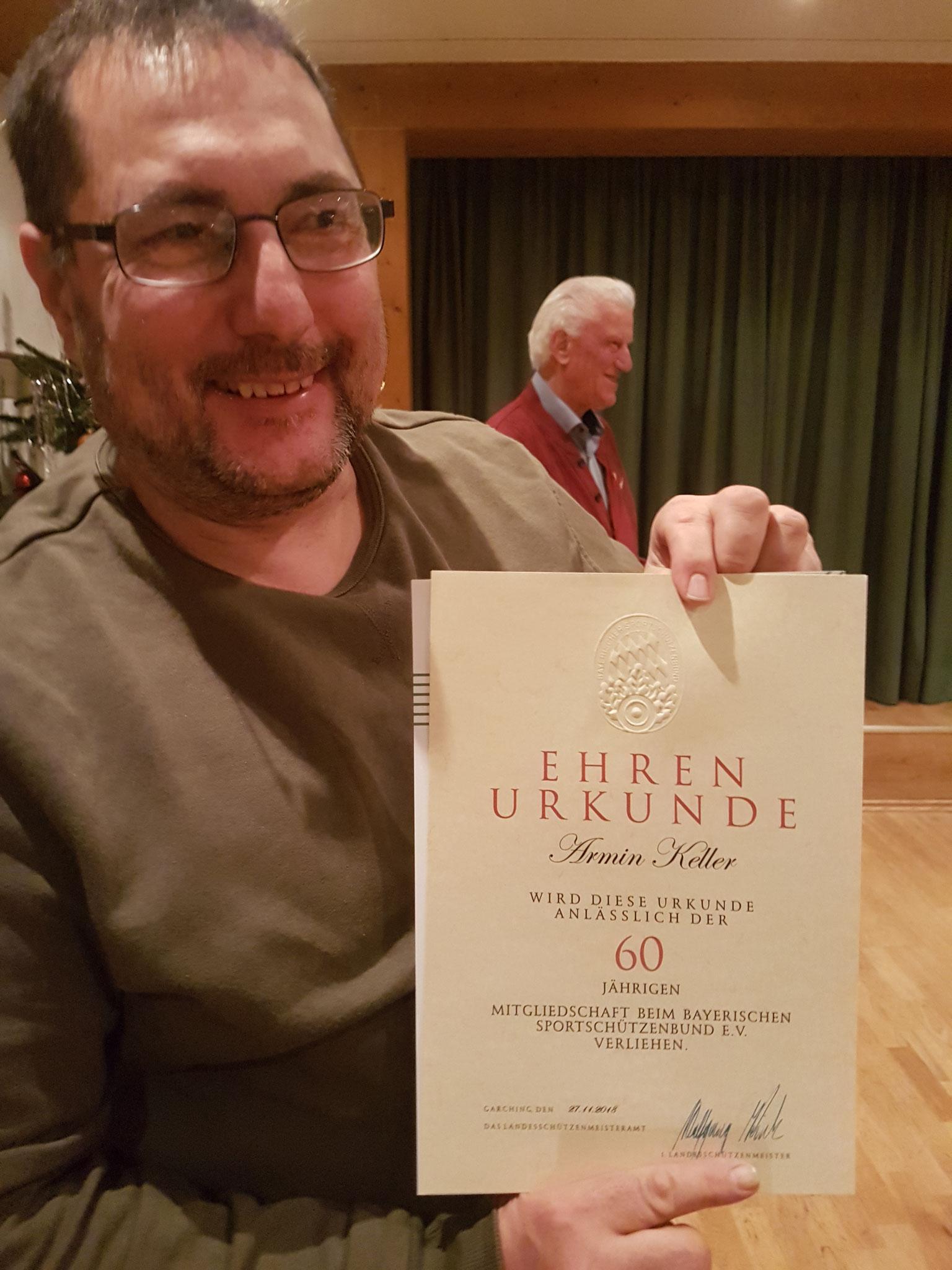 Armin Keller 60 Jahre Mitgliedschaft (Bild Stellvertretend  Keller. Jun)