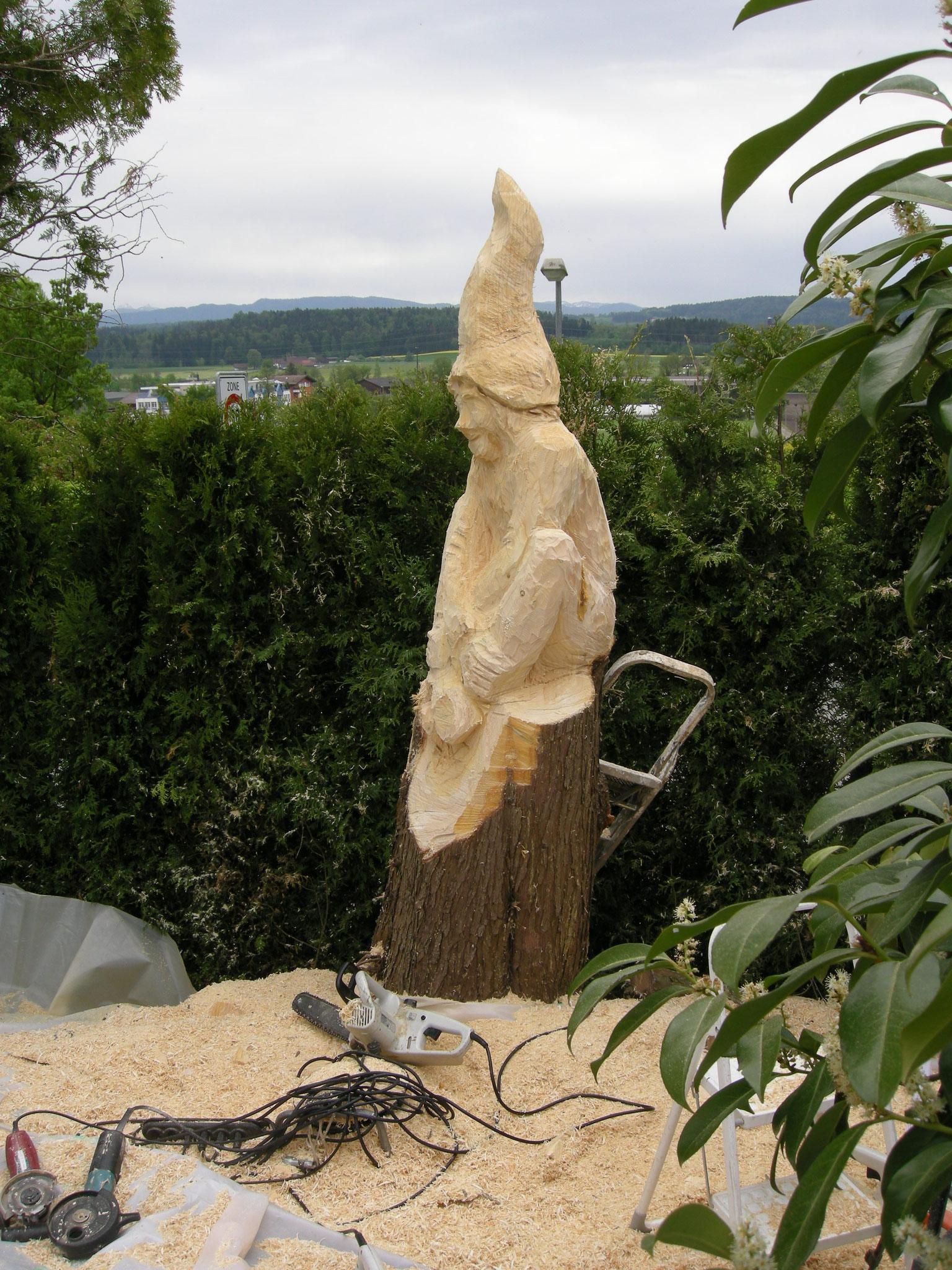 Zwerg Holzskulptur