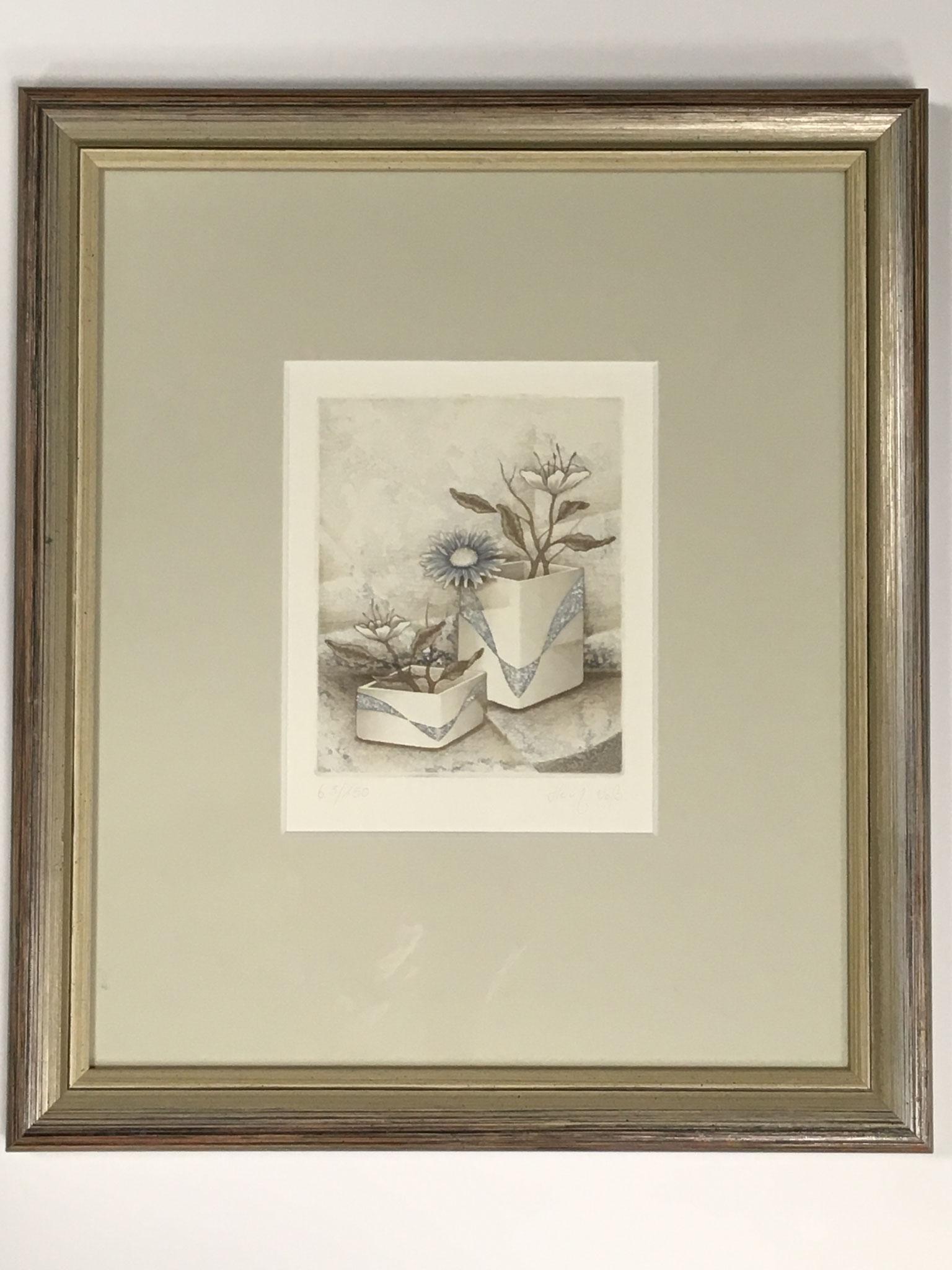 """Heinz Voß Original Radierung """"Blumenvase II"""" Größe/Falzmaß: 30,5 x 36,0cm € 169,-"""