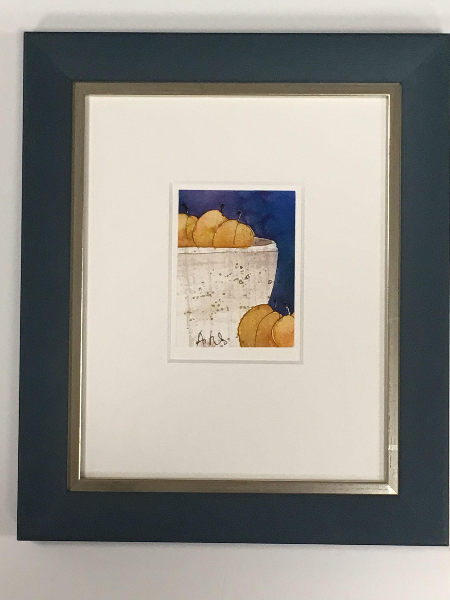 "Ströbele ""tutti frutti I"" mit Mirogardglas Größe/Falzmaß: 22,0 x 27,0cm € 150,-"