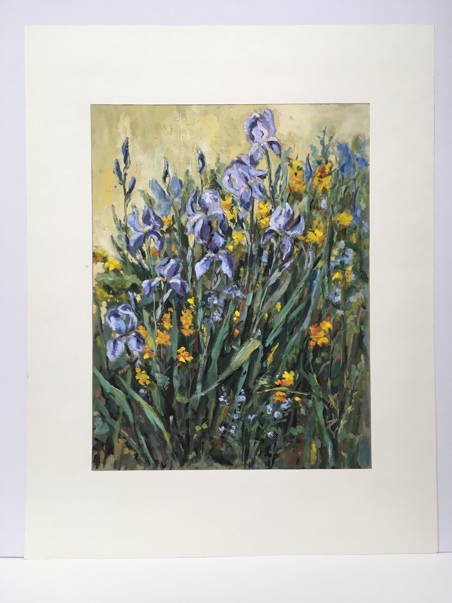 "Orig. Gouache auf Papier ""Iris im Garten"" - 70 x 90 cm - 1.490,-€"