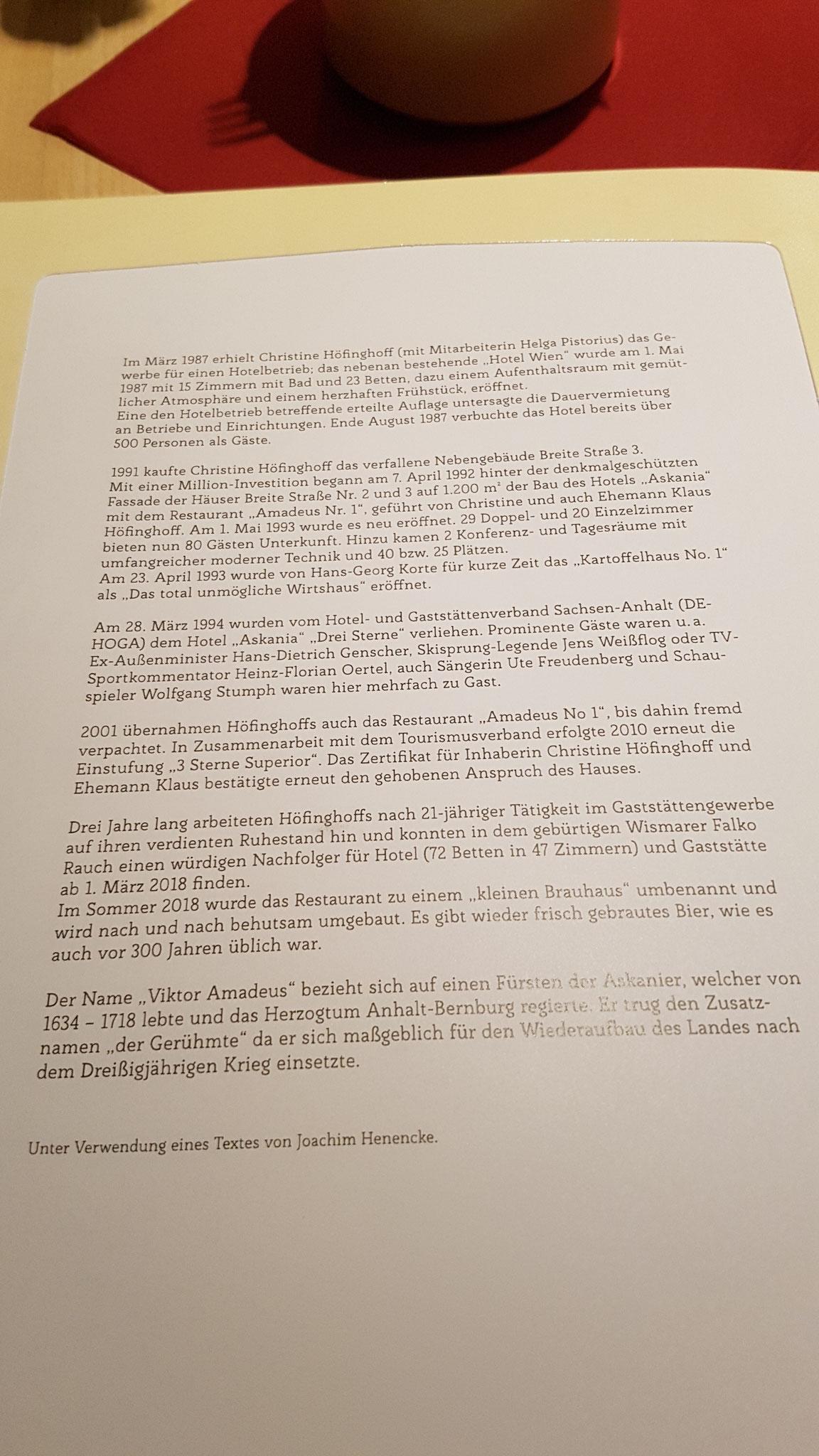 Geschichte des Hauses.