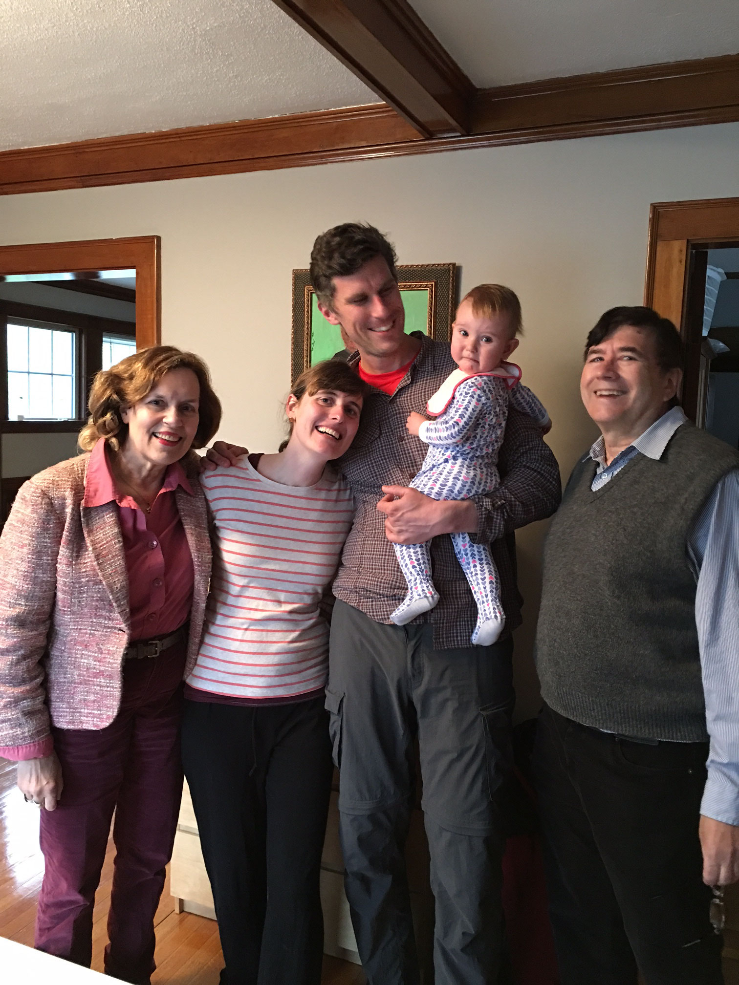 Lorraine, Anna Groner & Patrick Schupp, their daughter Celine, and John  5/3/16  Orchard St., Jamaica Plain MA