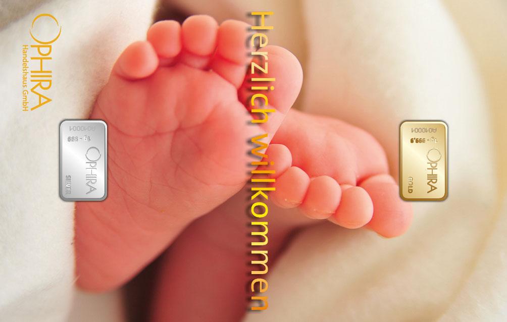 Geschenkbarren Geburt  mit einem Gold- und Silberbarren