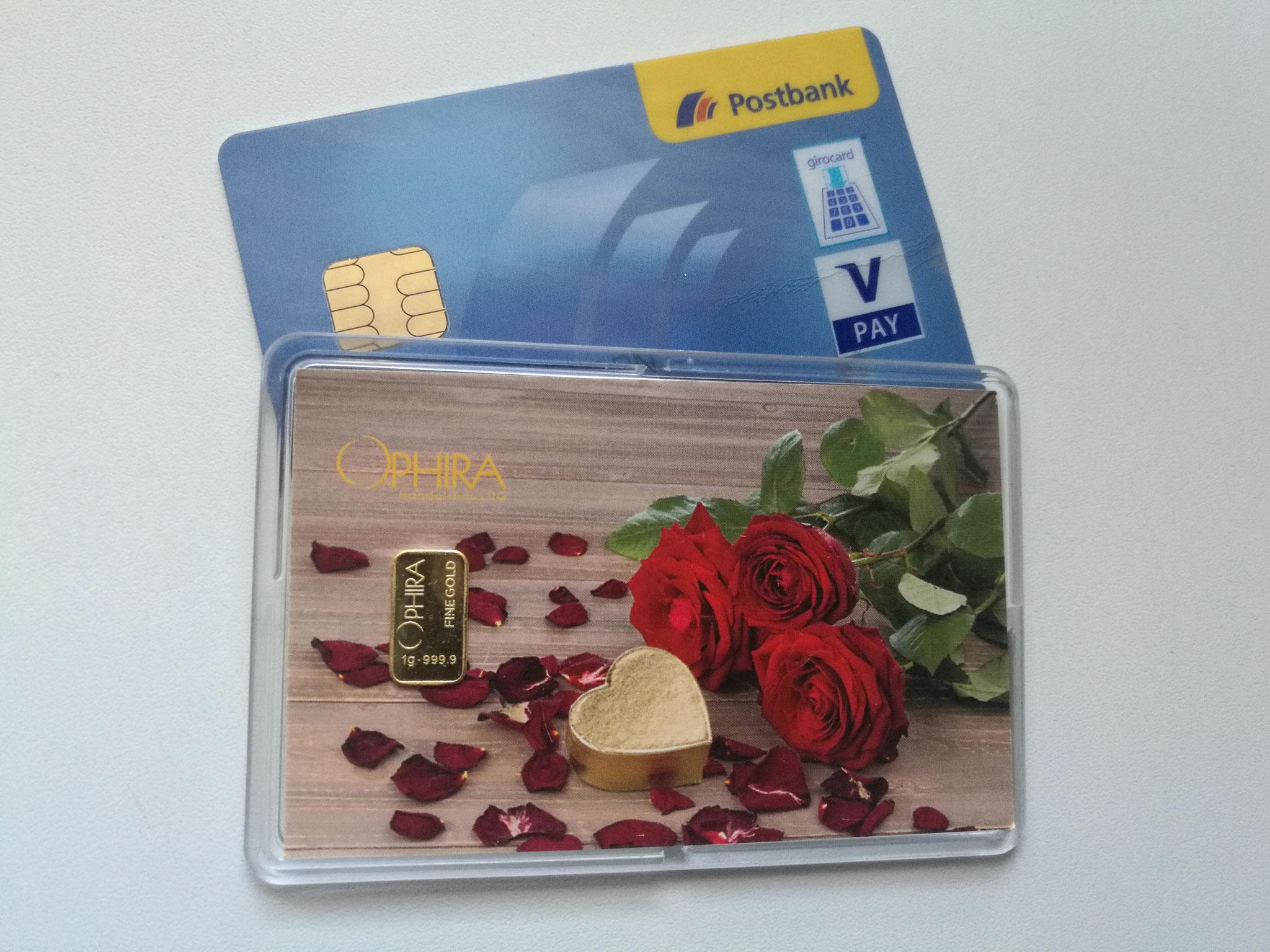 Größenvergleich Geschenkbarren Motivbarren und Bankkarte