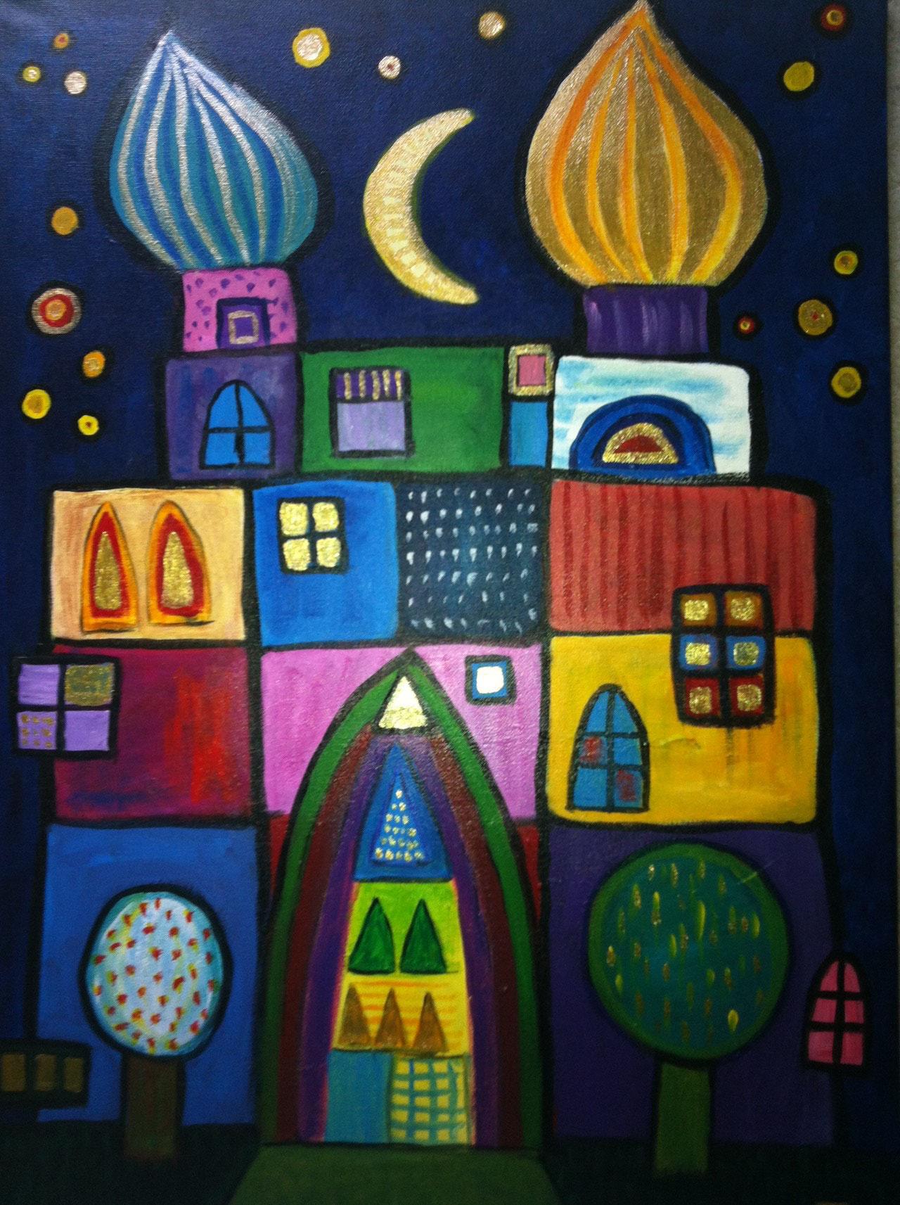 Traumpalast _  (Acryl auf Leinwand, 50 x 70 cm)