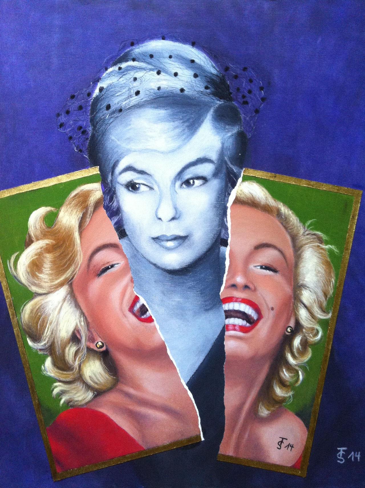 Marylin – Zerrissenheit einer Diva  _ (Collage aus zwei Pastellbildern, 50 x 60 cm)
