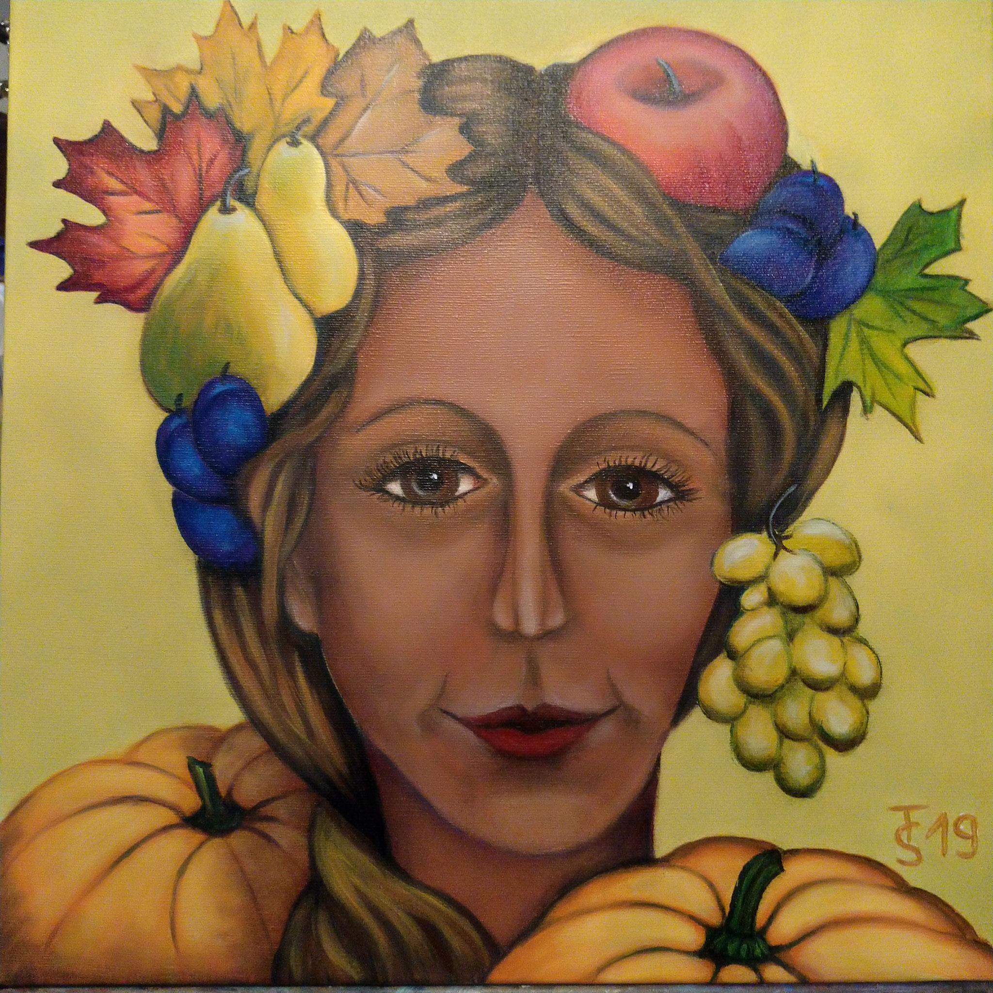 Herbstgöttin _ (Acryl auf Leinwand, 50 x 50 m)