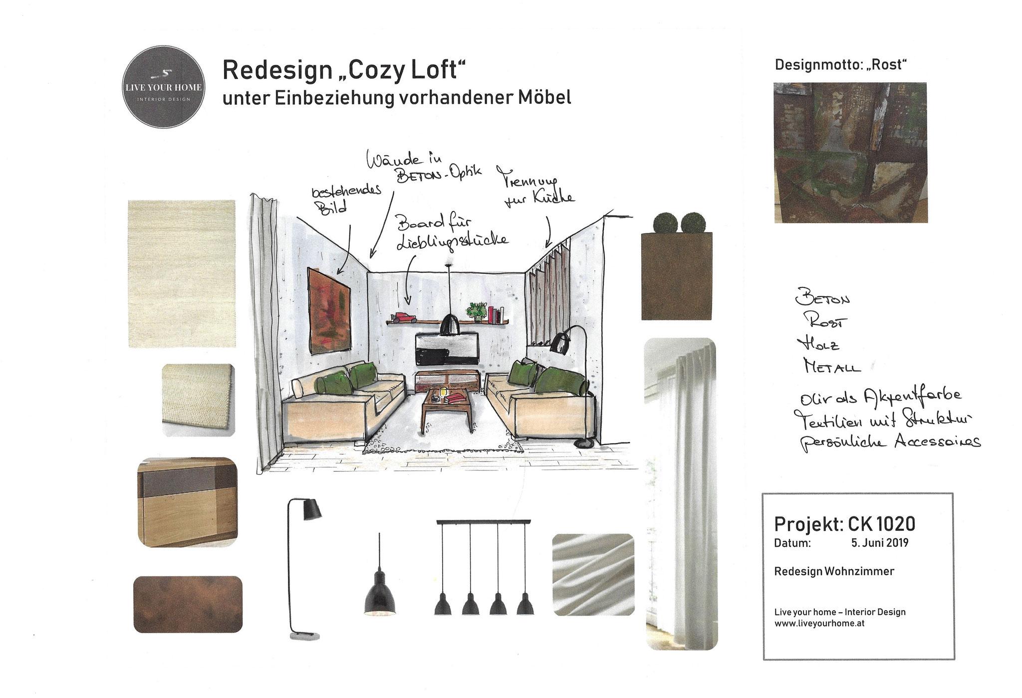 Loft Industrial Interior Wien Styleboard