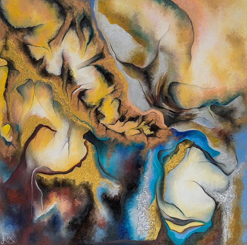 """Weltenlicht """"Geduld"""", Öl auf Leinwand, 120 x 120 cm, Serie Weltenlichter, 2019"""