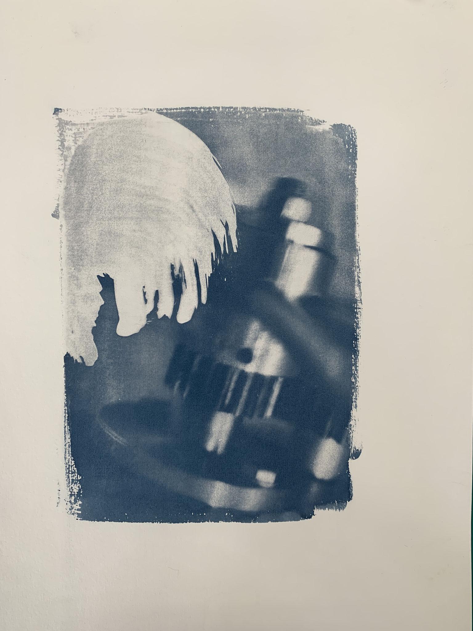 Ex Machina, Cyanotypie, 40 x 50 cm,  2020