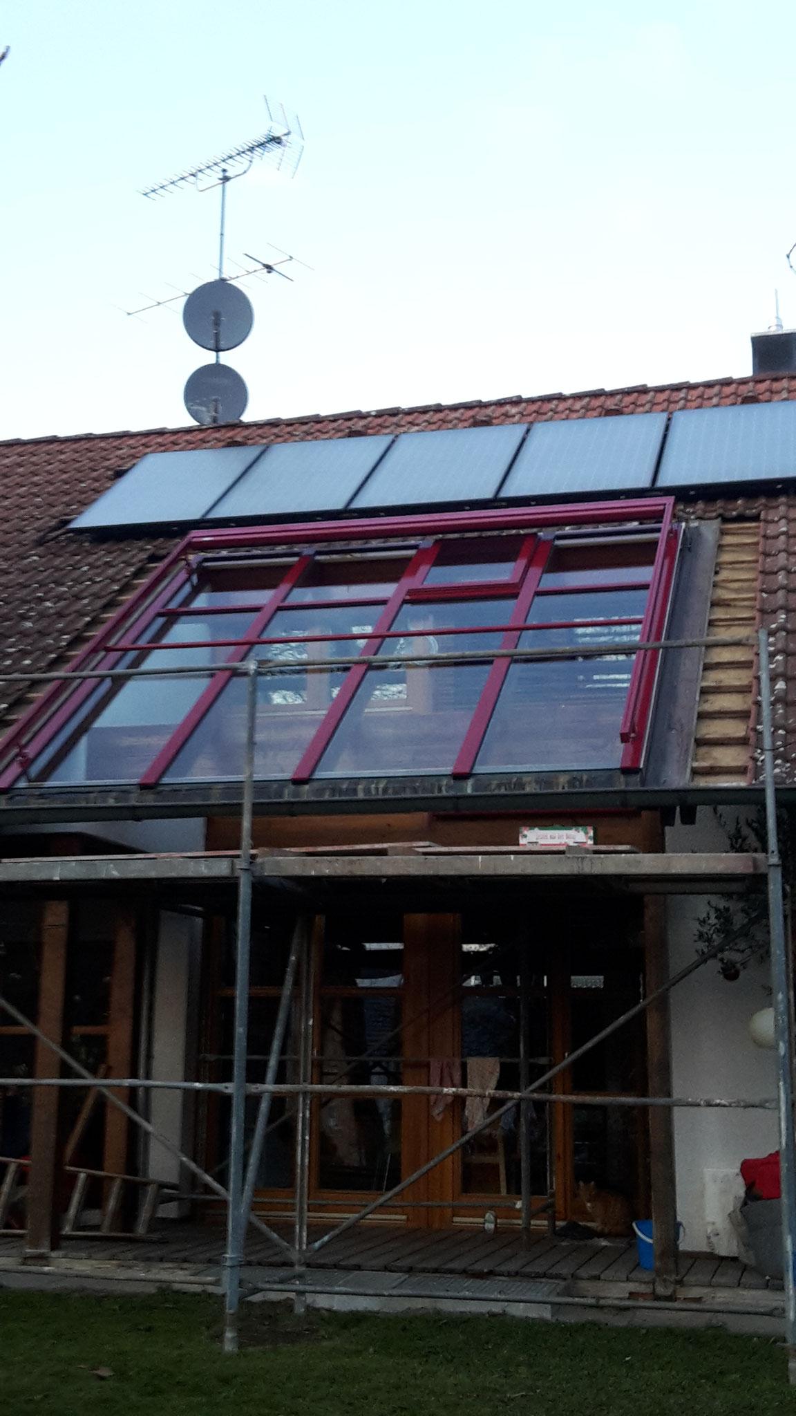 Neuverglasung mit integriertem Glasdachfenster