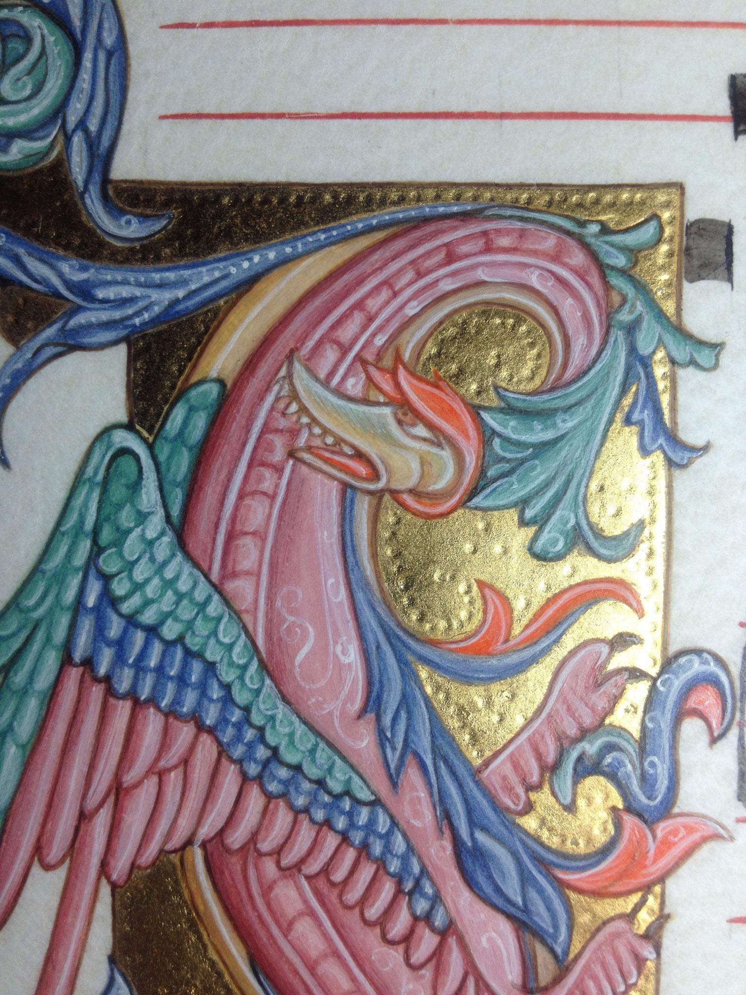 Enluminure traditionnelle, parchemin, feuille d'or poinçonnée et pigments précieux. Création Martine Saussure-Young