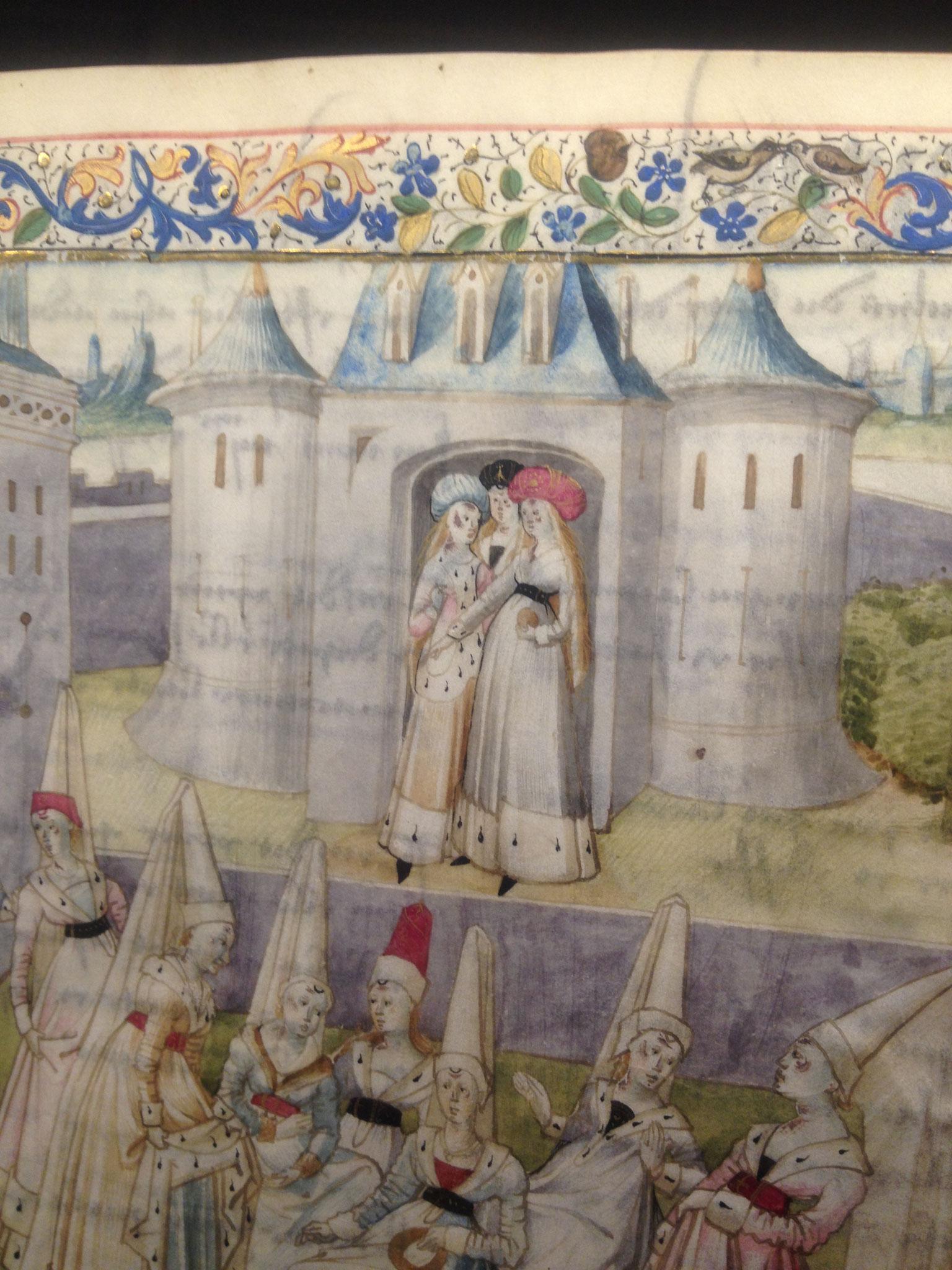 """Détail du frontispice de """"La cité des Dames"""" C.de Pisan 1405"""
