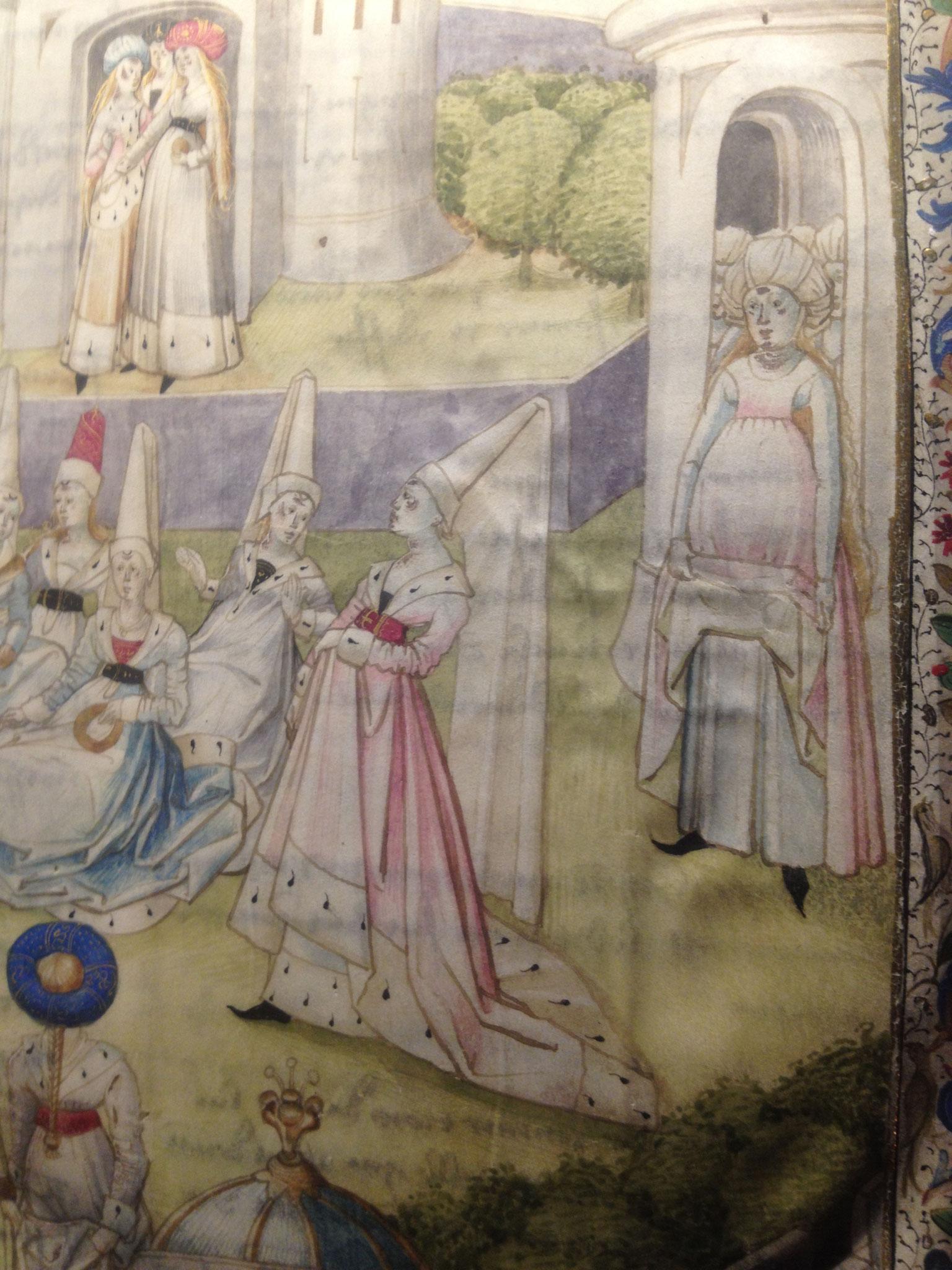 """Détail du frontispice au lavis de """"La cité des Dames"""" C.de Pisan 1405"""