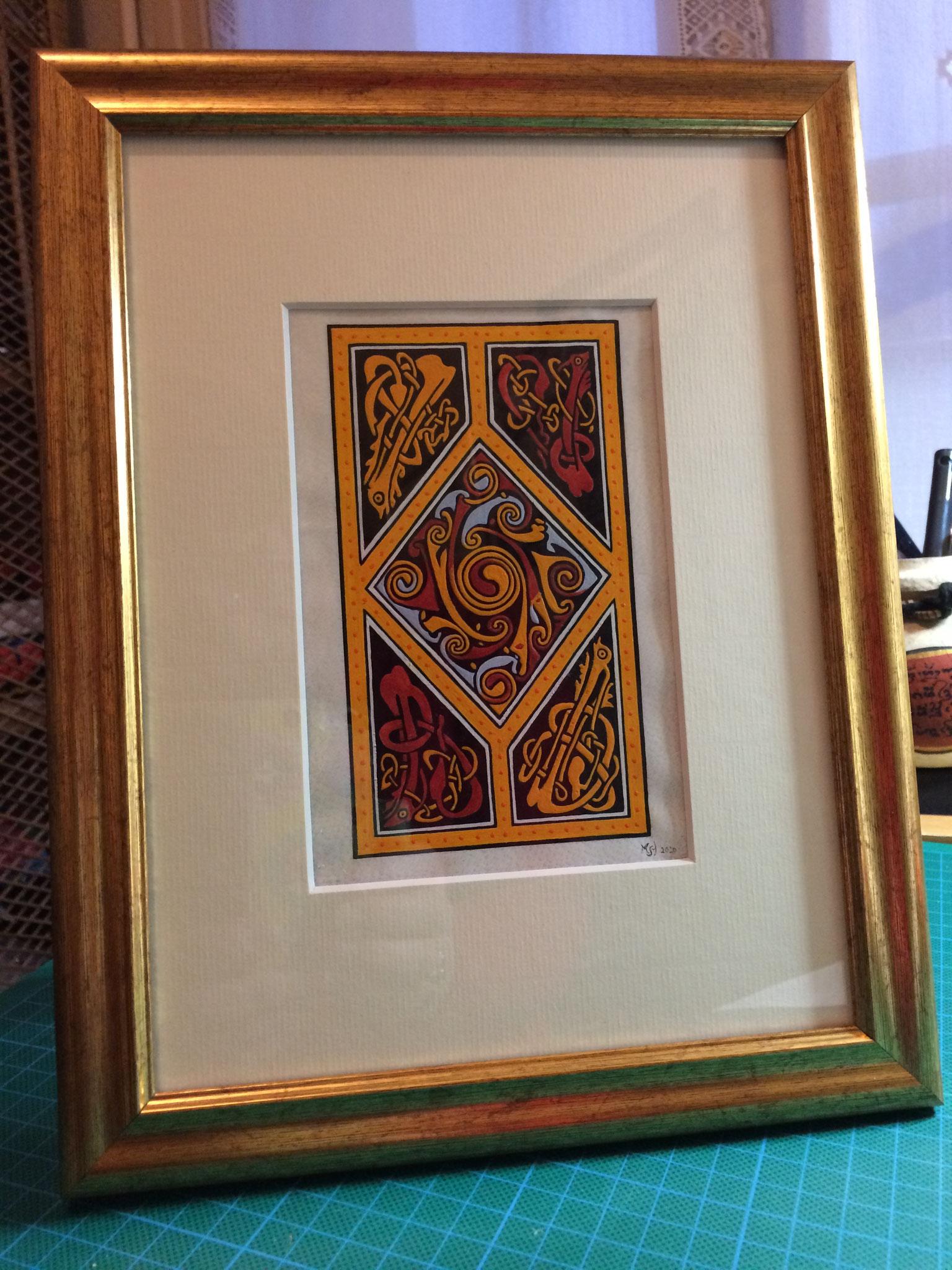 Motif celtique, inspiré de l'Evangéliaire irlandais VIIIe s, Echternach, Or-et-CaraCteres 2020