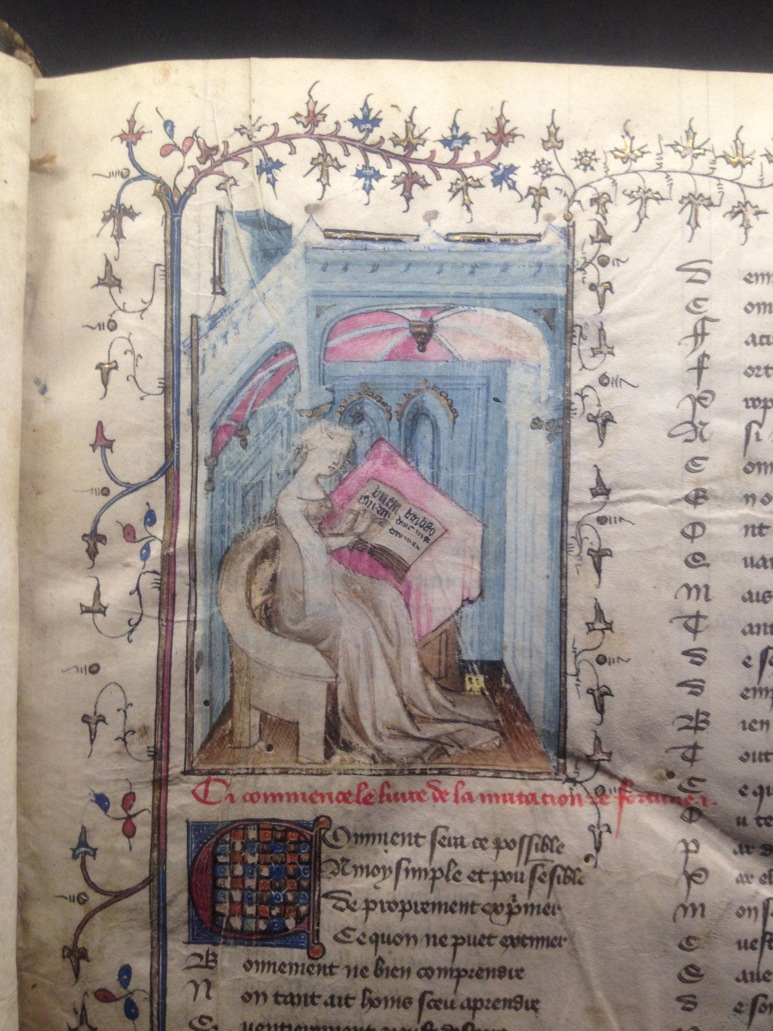 """Christine de Pisan à son pupitre """"Le livre de la mutation de fortune"""""""