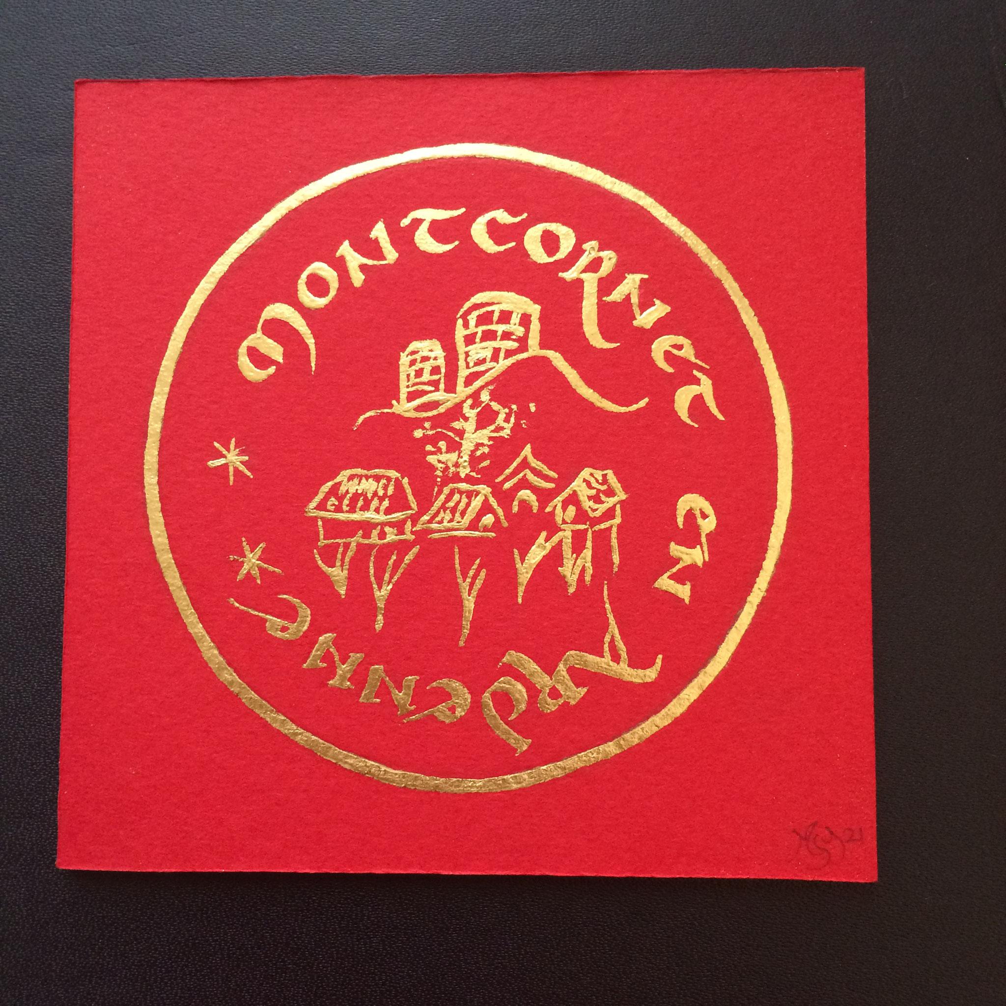 Montcornet en Ardenne, sur papier, feuille d'or, création MSY 2021