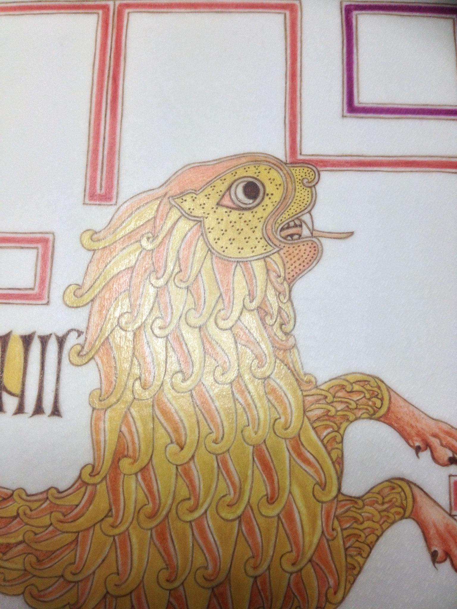 Détail du Lion de Saint-Marc, pigments historiques sur parchemin de chèvre