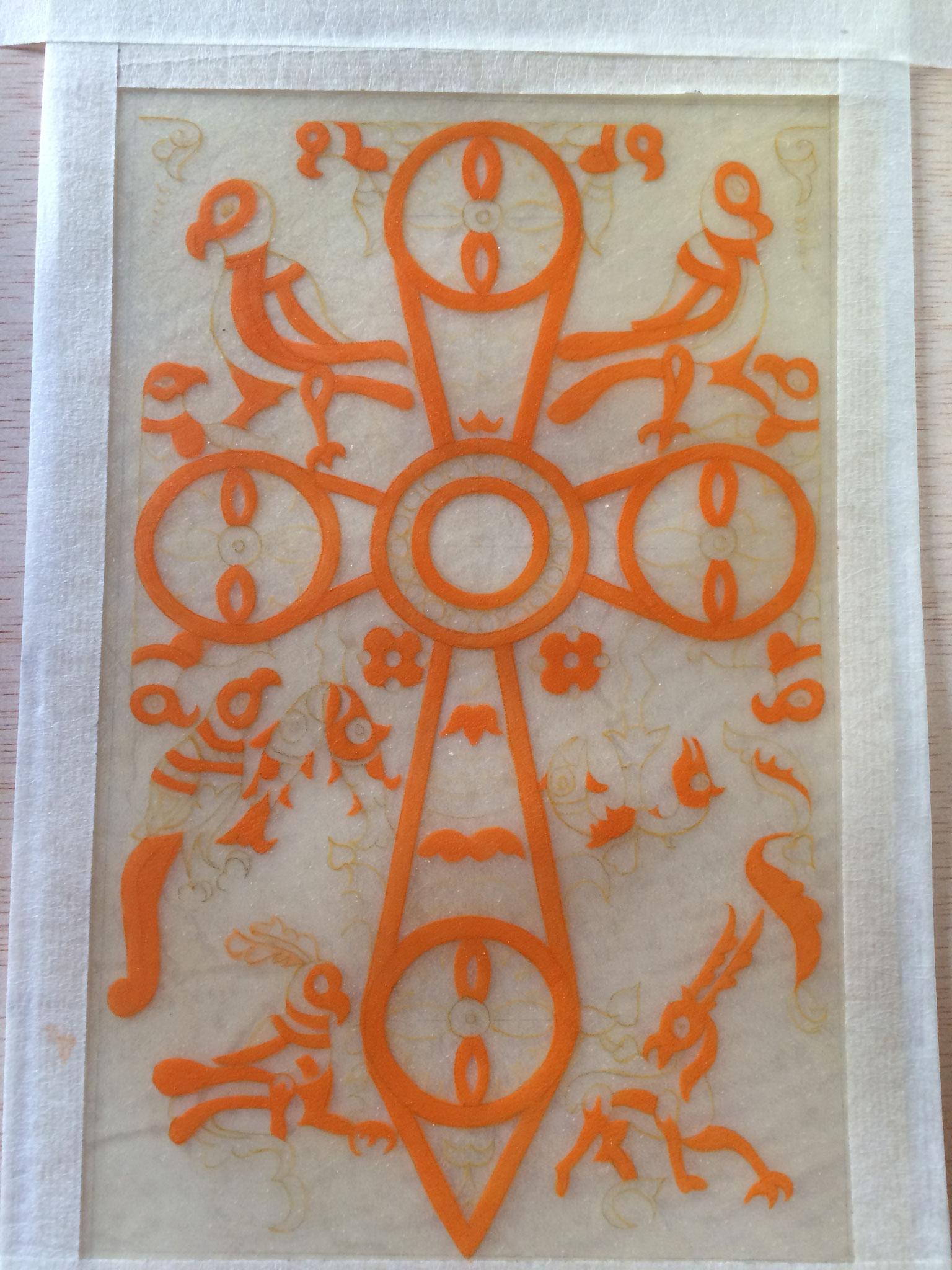 Et le début de la réalisation de l'enluminure du Sacramentaire gélasien de Chelles pendant mes démonstrations