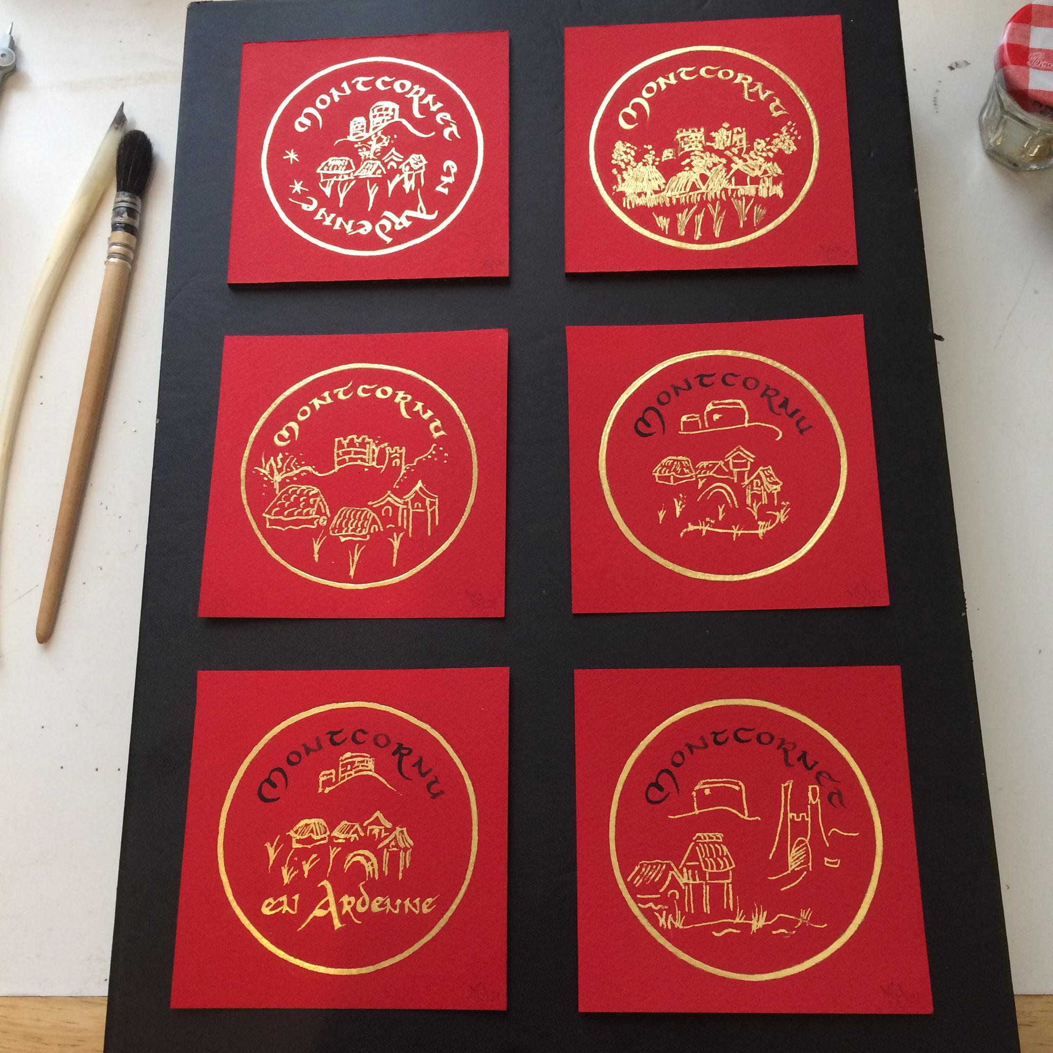 Montcornet en rouge et or, sur papier, feuille d'or, encre de Chine, création MSY 2021