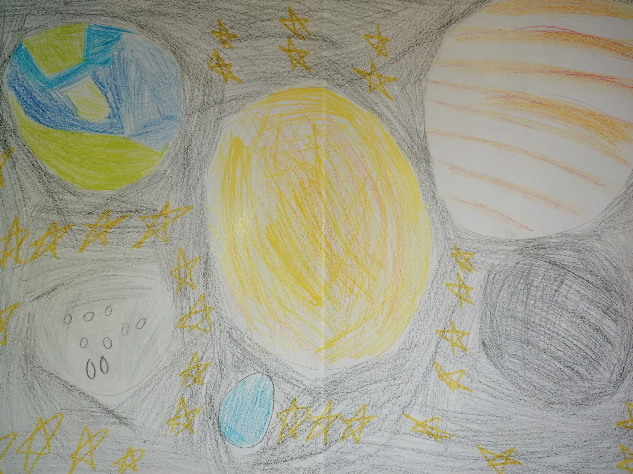 Hüseyin aus der 3a malt das Sonnensystem