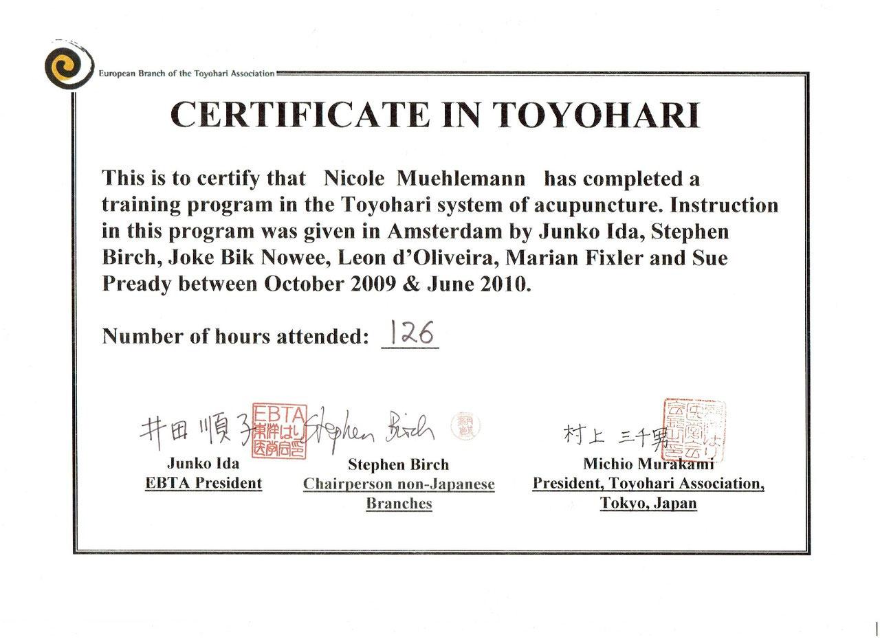 Zertifikat Toyohari