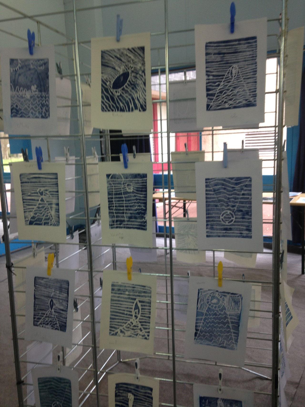 Atelier Gravure avec l'artiste Minka DELAERE (École élémentaire Chaponval)