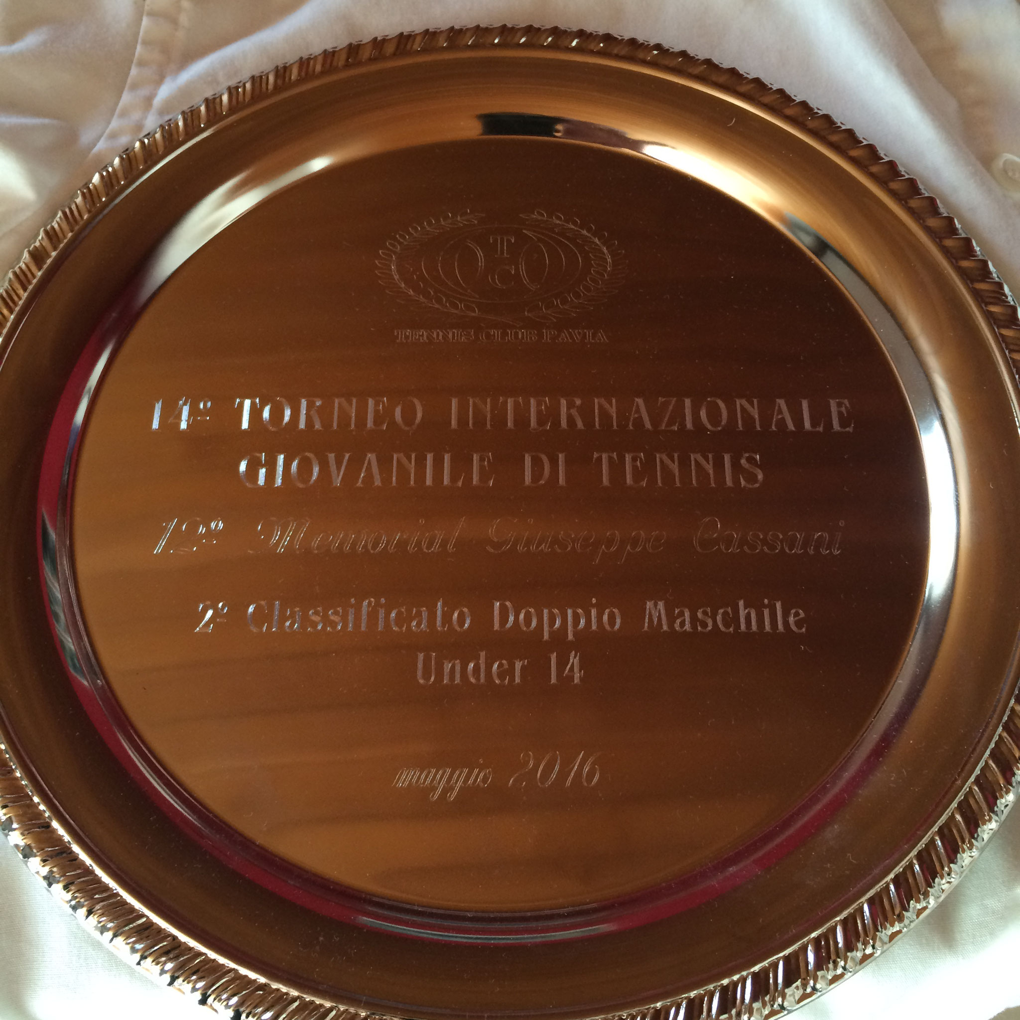 2. Platz MD am 14. Torneo Giovanille di Tennis under 14 in Pavia.