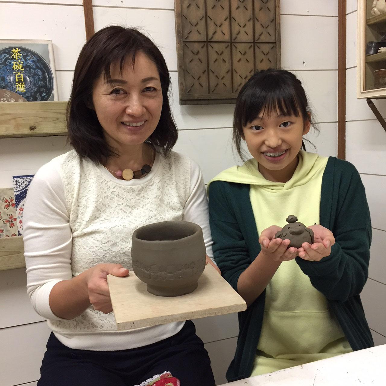 【大垣市陶芸教室夢現窯】器も人形も作れます