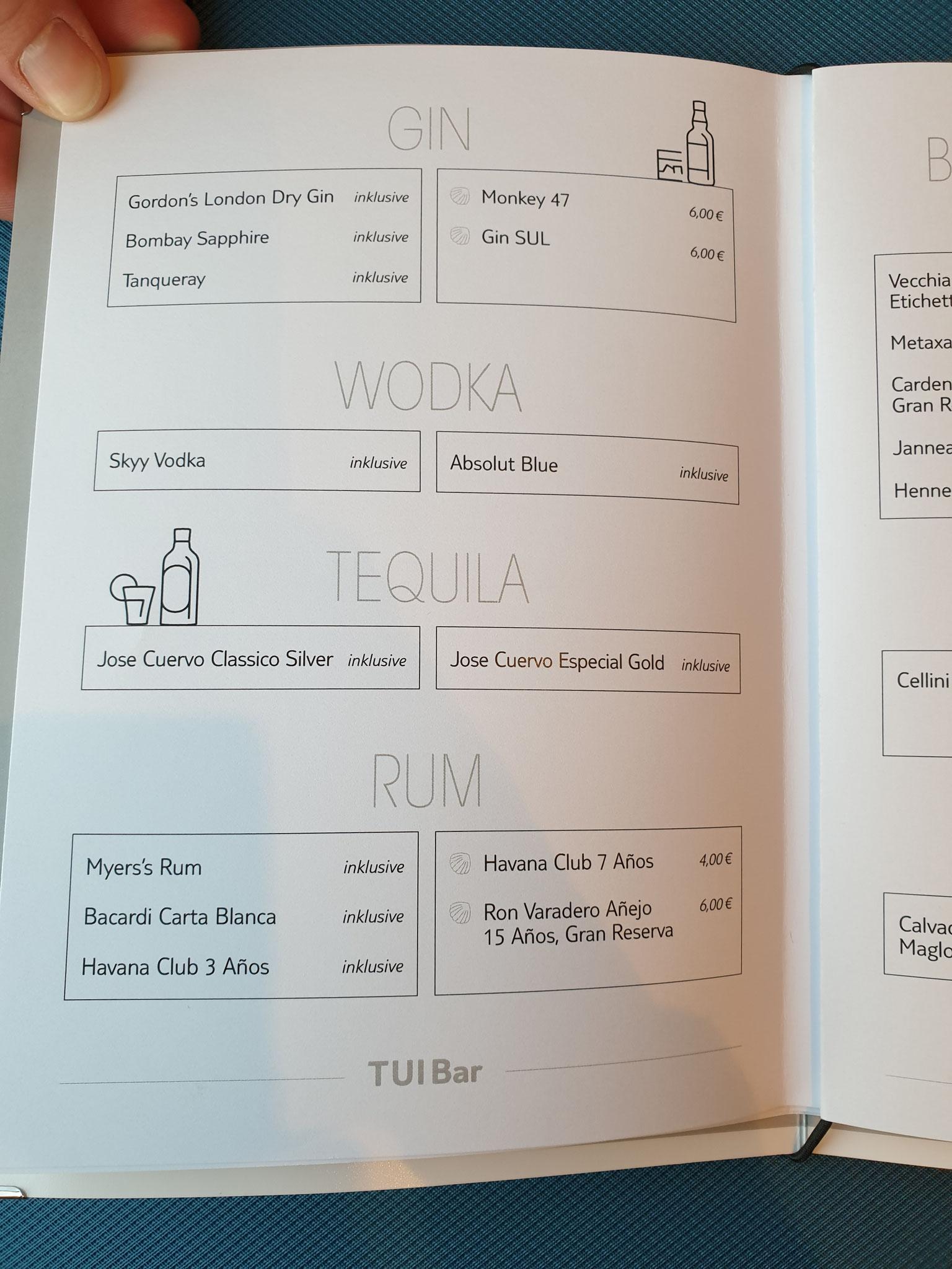 Getränkekarte Mein Schiff 2