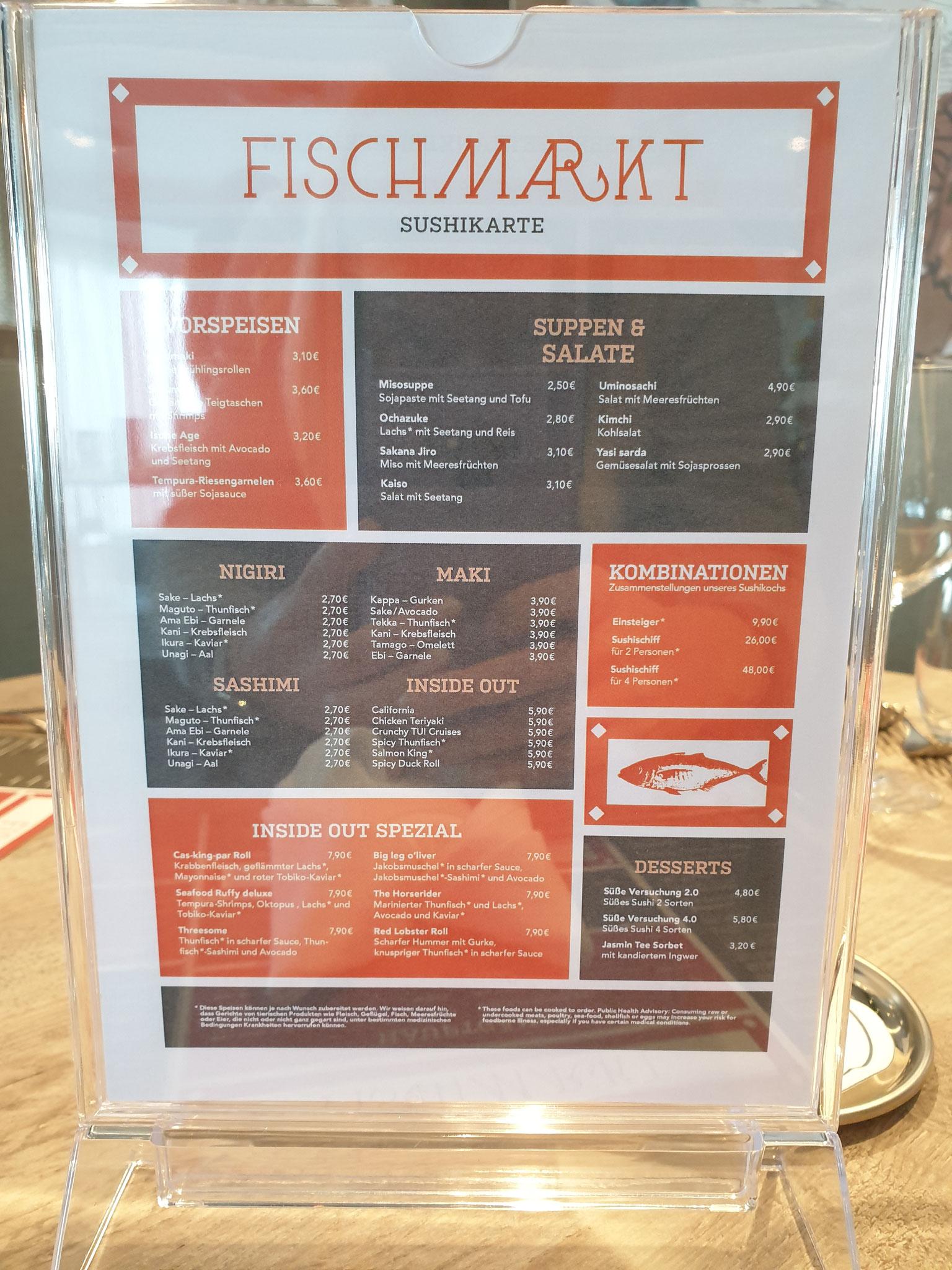 Fischmarkt Speisekarte neue Mein Schiff 2