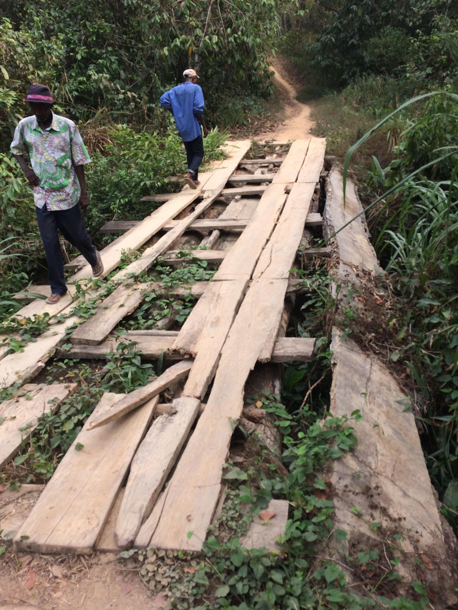 Brücken auf dem Weg nach Konjorlloe und in andere Dörfer sind oft gefährliche Hürden. Mithilfe von Geldern der Liberia Freunde werden sie regelmäßig ausgebessert und repariert.