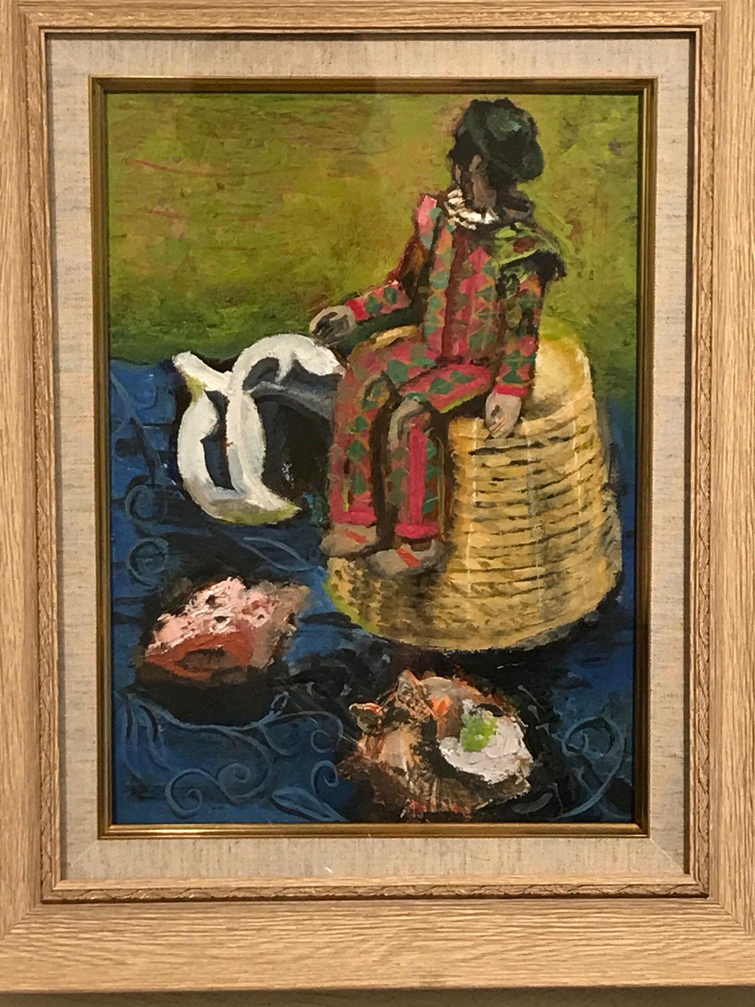 甲斐久美子「ピエロのいる静物画」F4