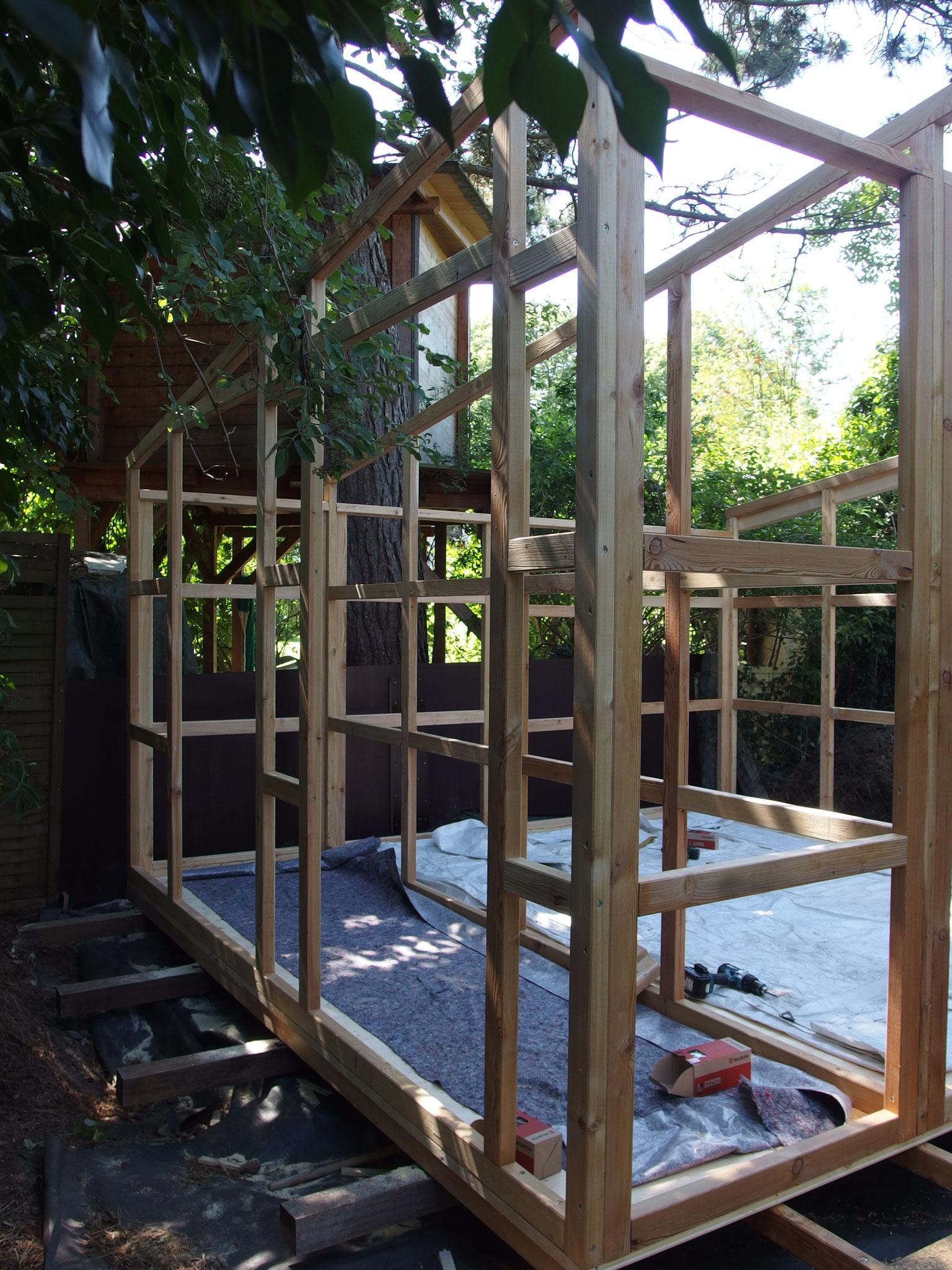 Gartenhaus in Rahmenbauweise