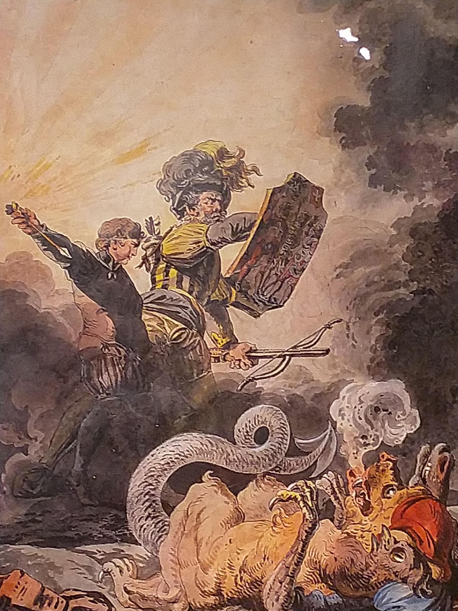 Wilhelm Tell und sein Sohn Walter im Kampf gegen die Französische Revolution. Bild von Balthasar Dunker, allegorische Darstellung des Untergangs der alten Eidgenossenschaft.