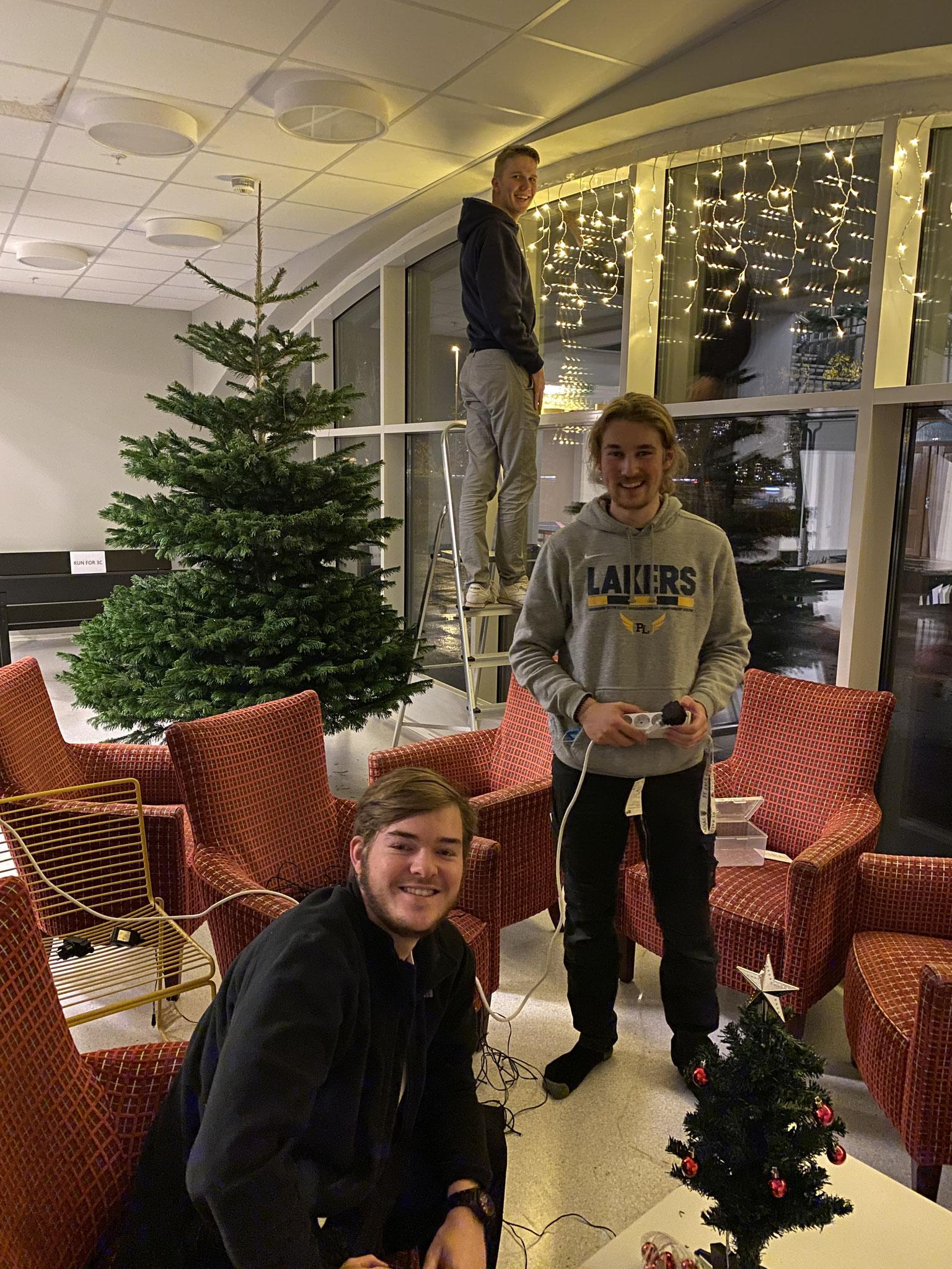 Zu Weihnachten wurde die gesamte Schule von den Praktikanten Tim, Paul und Jonas (v.l.) geschmückt