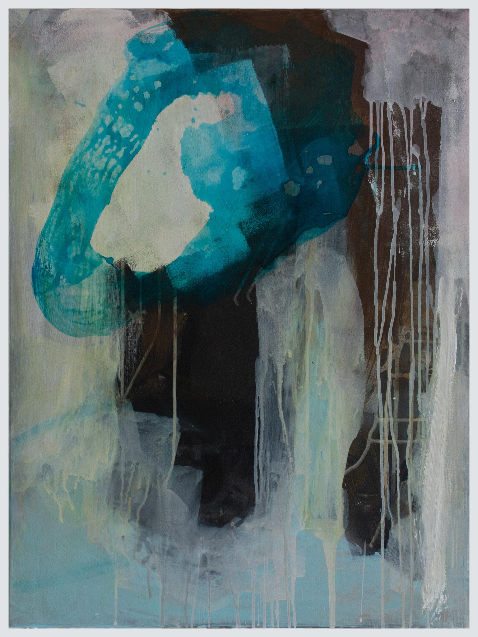 Acryl, ecoline op canvas, 80x60 cm 2020 'Blue form'