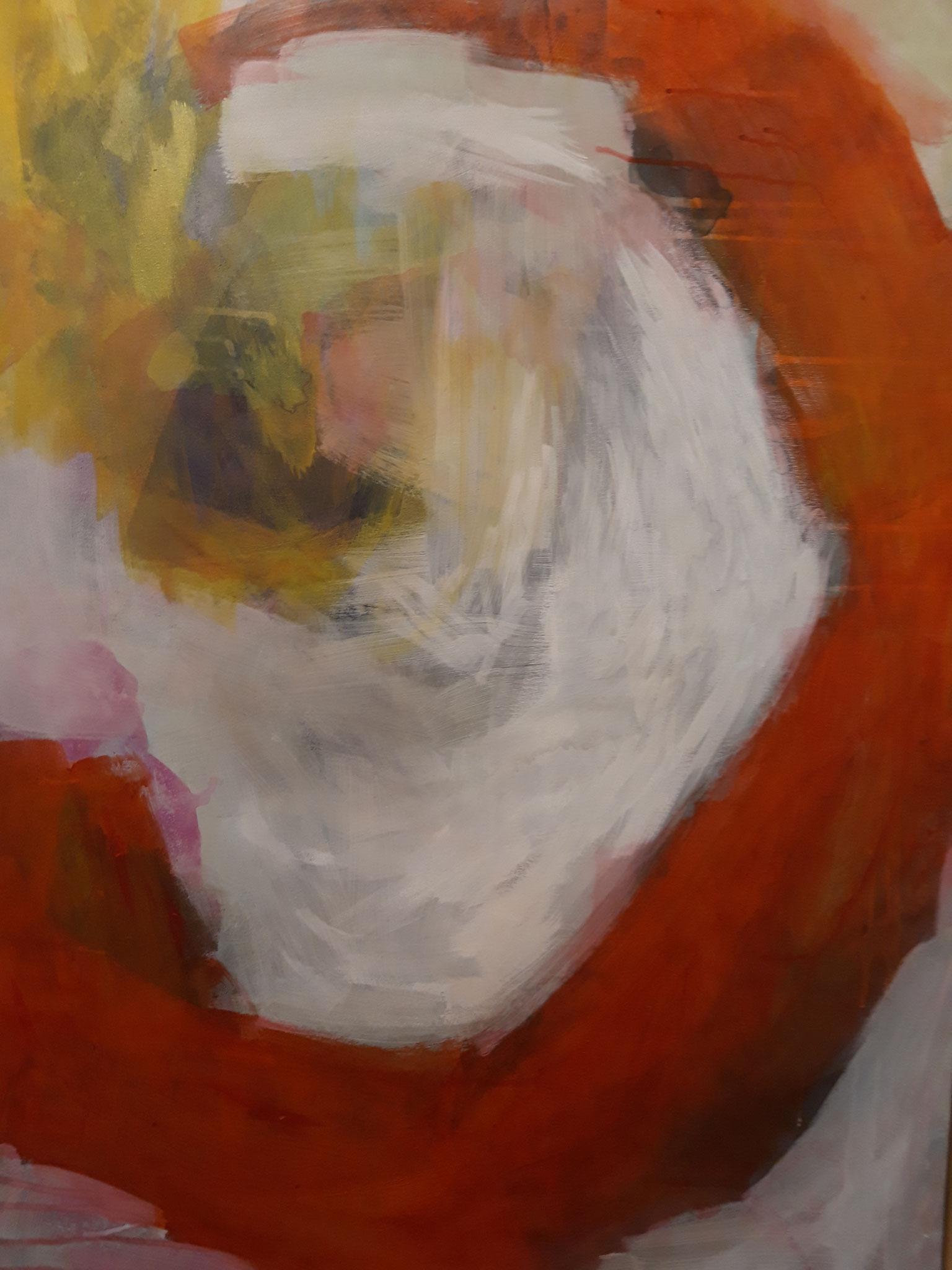Acryl, ecoline op canvas 115x75 cm 2020 'Beginning' Verkocht