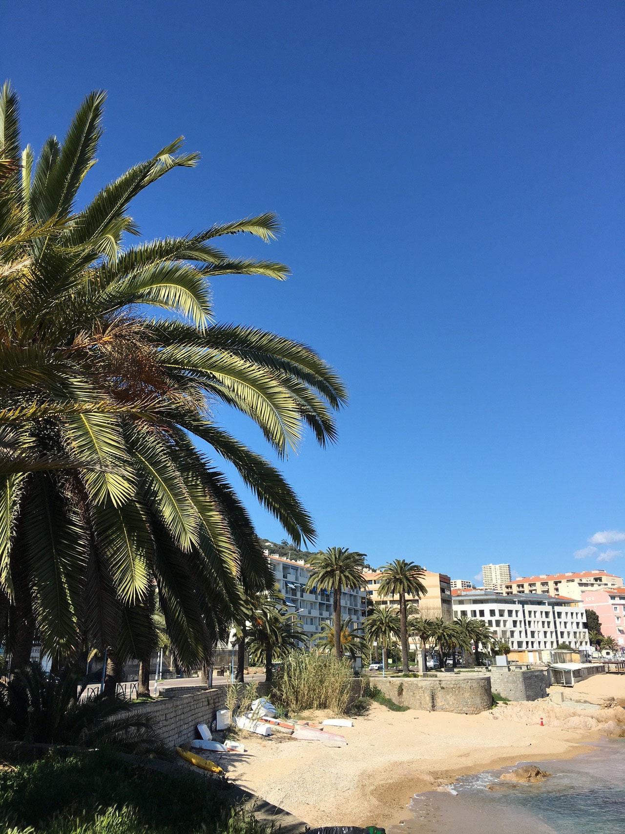 Vue d'Ajaccio de la plage proche de la maison de Ninette