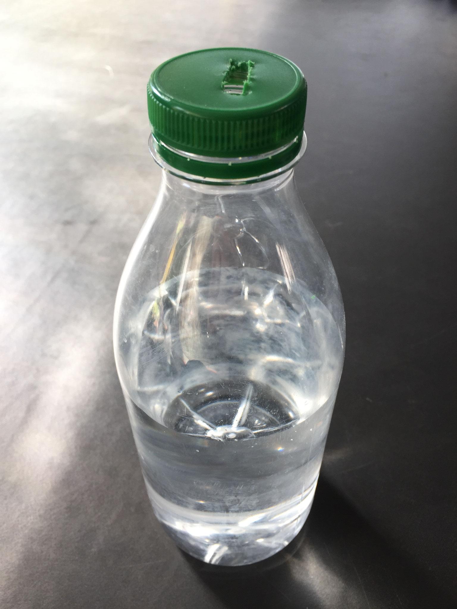 Nimm eine leere Pet Flasche. Fülle Wasser hinein.