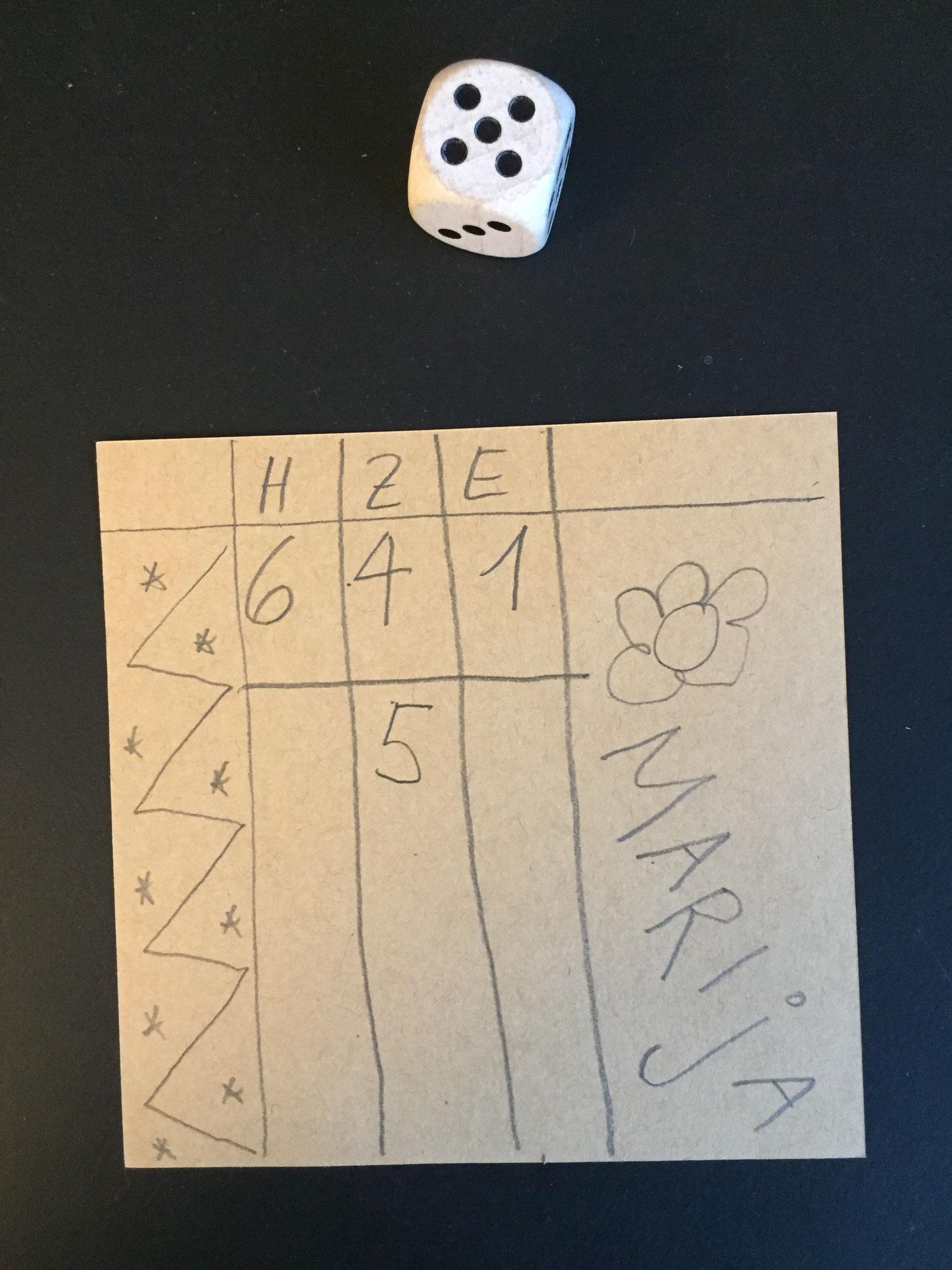 Du weisst nicht, ob du in dieser Runde noch eine 6 hast.  Eine 5 ist auch schon recht gut.